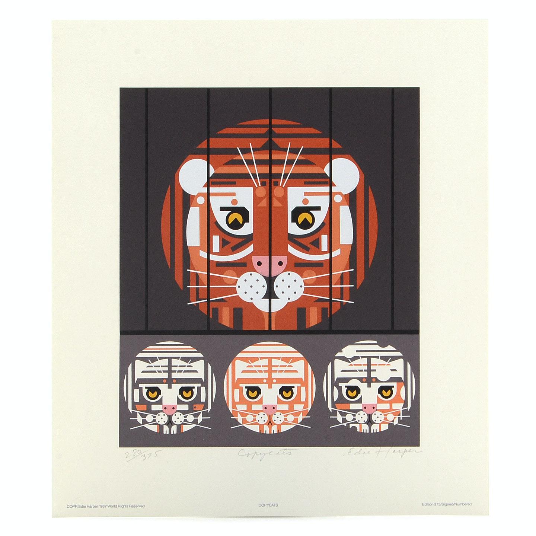 """Edie Harper Original 1987 Limited Edition Serigraph """"Copycats"""""""