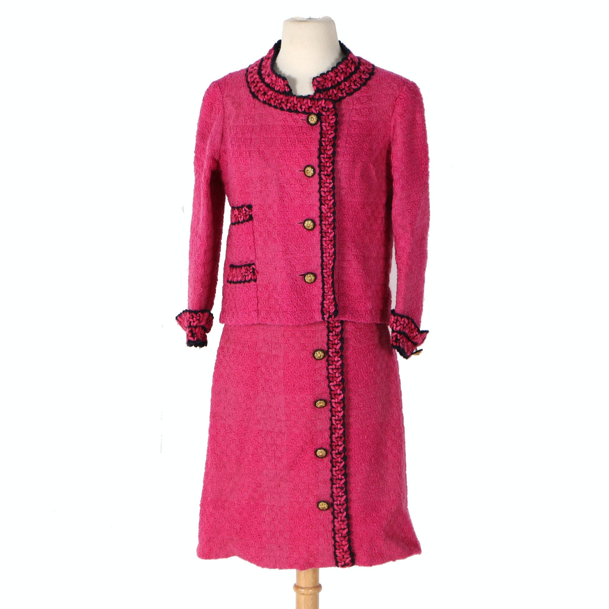 Vintage Chanel Pink Knit Skirt Suit
