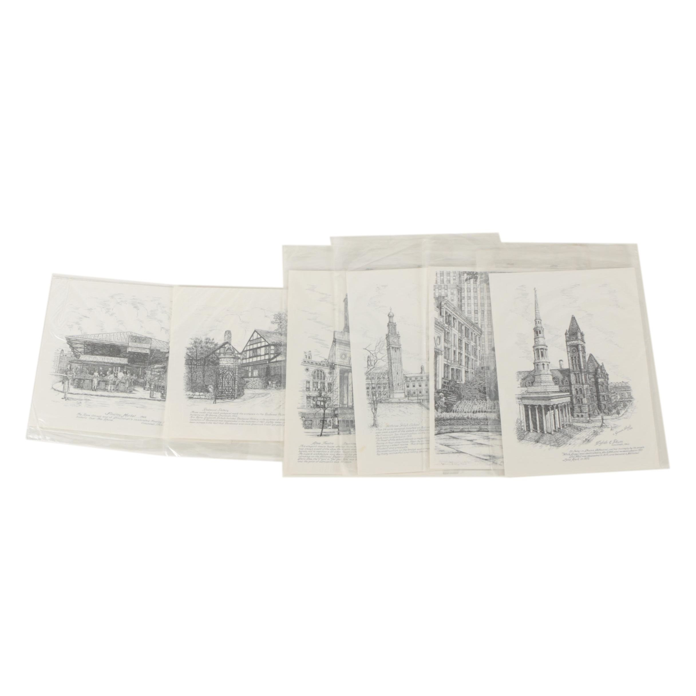 Lithographs After Geneva South of Cincinnati Area Landmarks