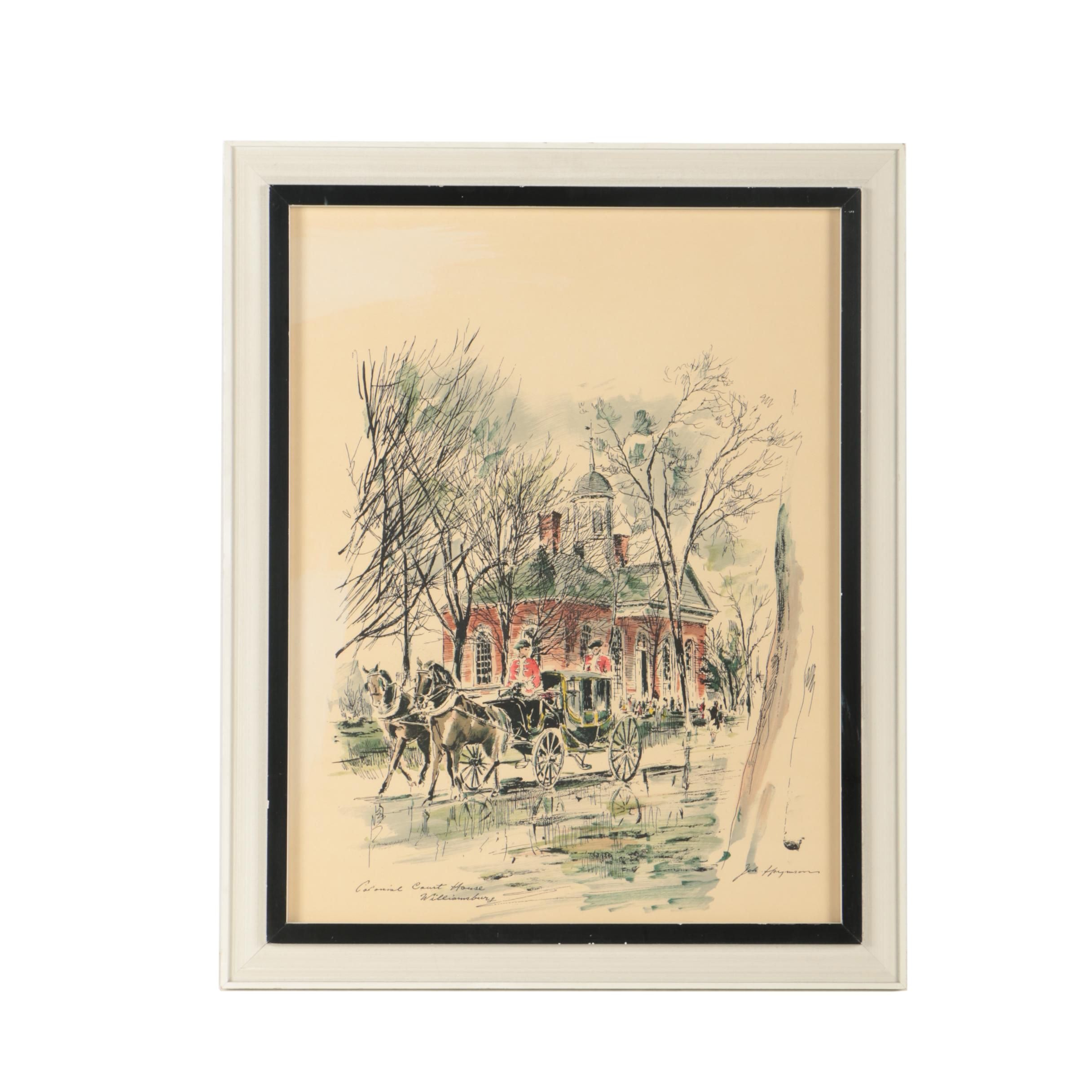 "John Haymson Hand-Colored Serigraph ""Colonial Courthouse - Williamsburg"""