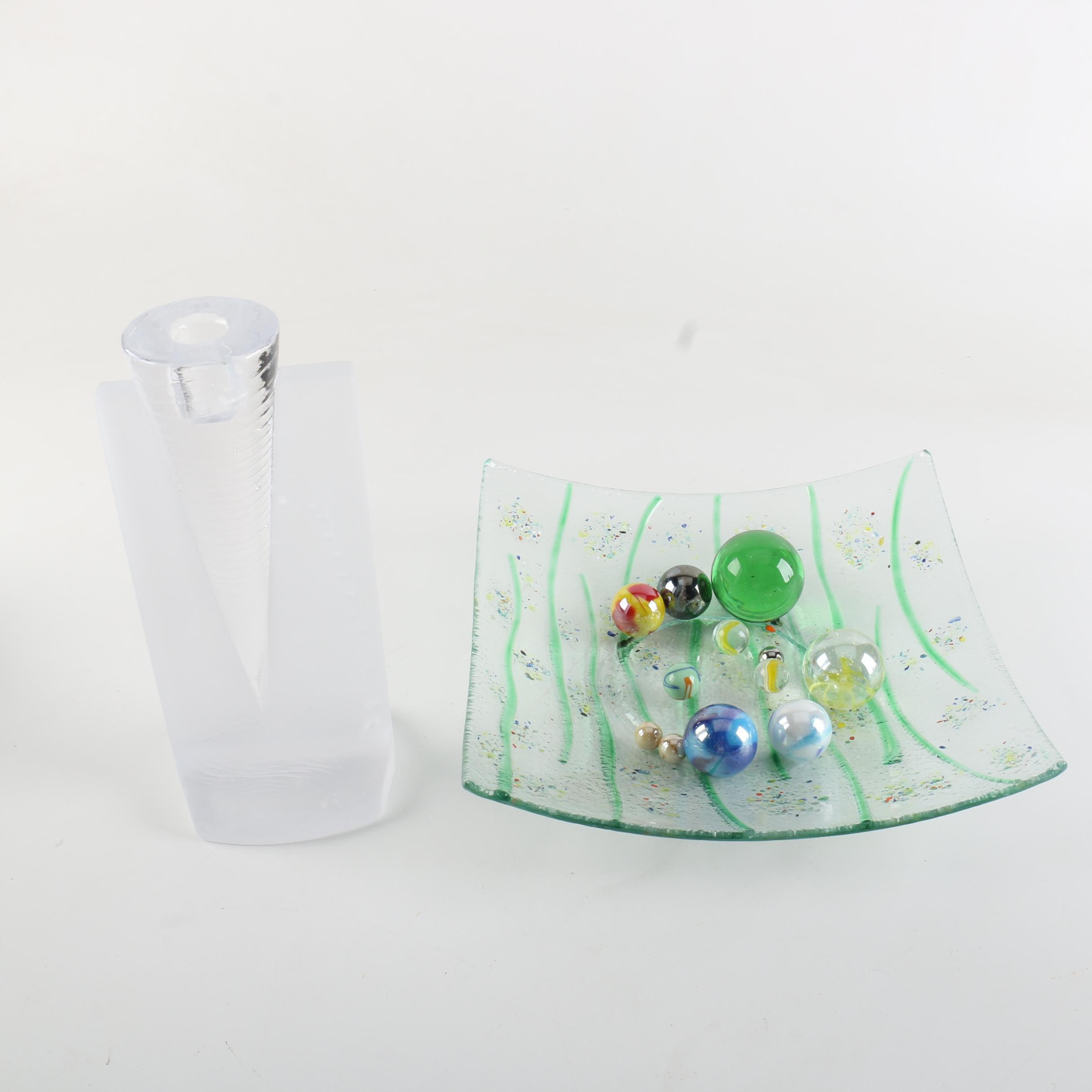 Geometrical Glass Candlestick, Dish, and Marbles