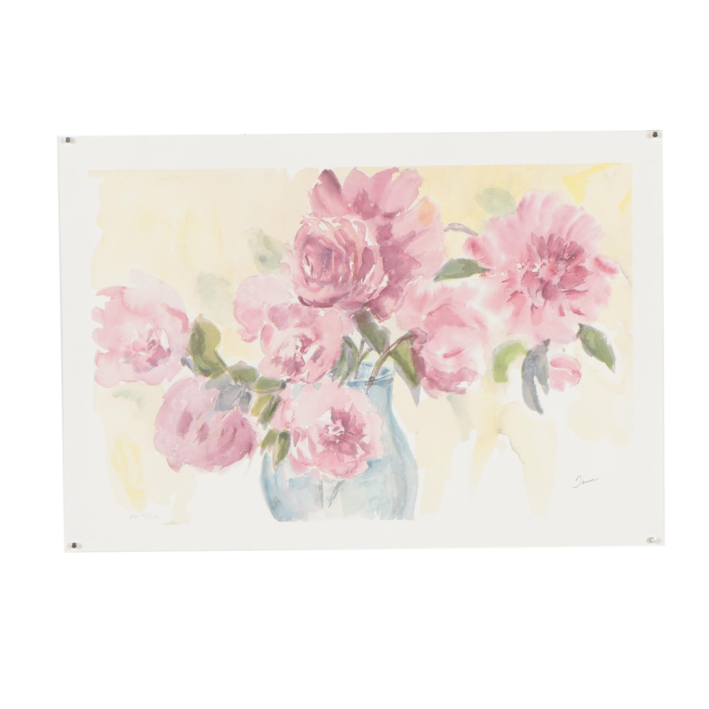 "Tina Smith Artist's Proof Seriolithograph ""Peonies in Position"""