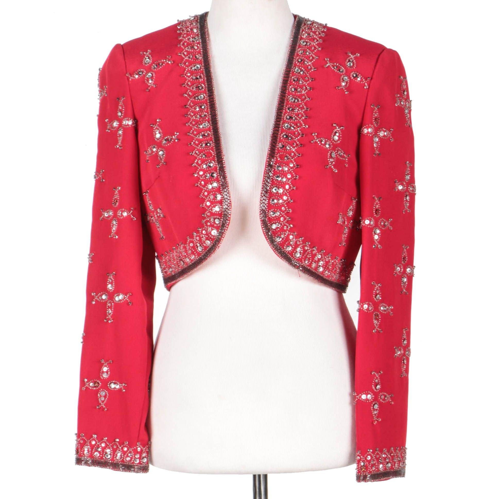 Women's Vintage Victoria Royal Ltd. Embellished Red Bolero Jacket