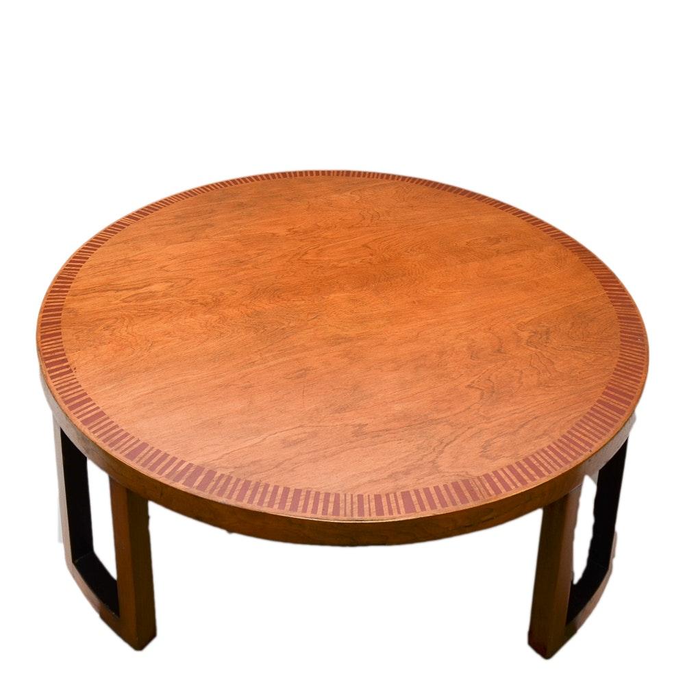 Vintage Mid Century Modern Stenciled Wood Coffee Table