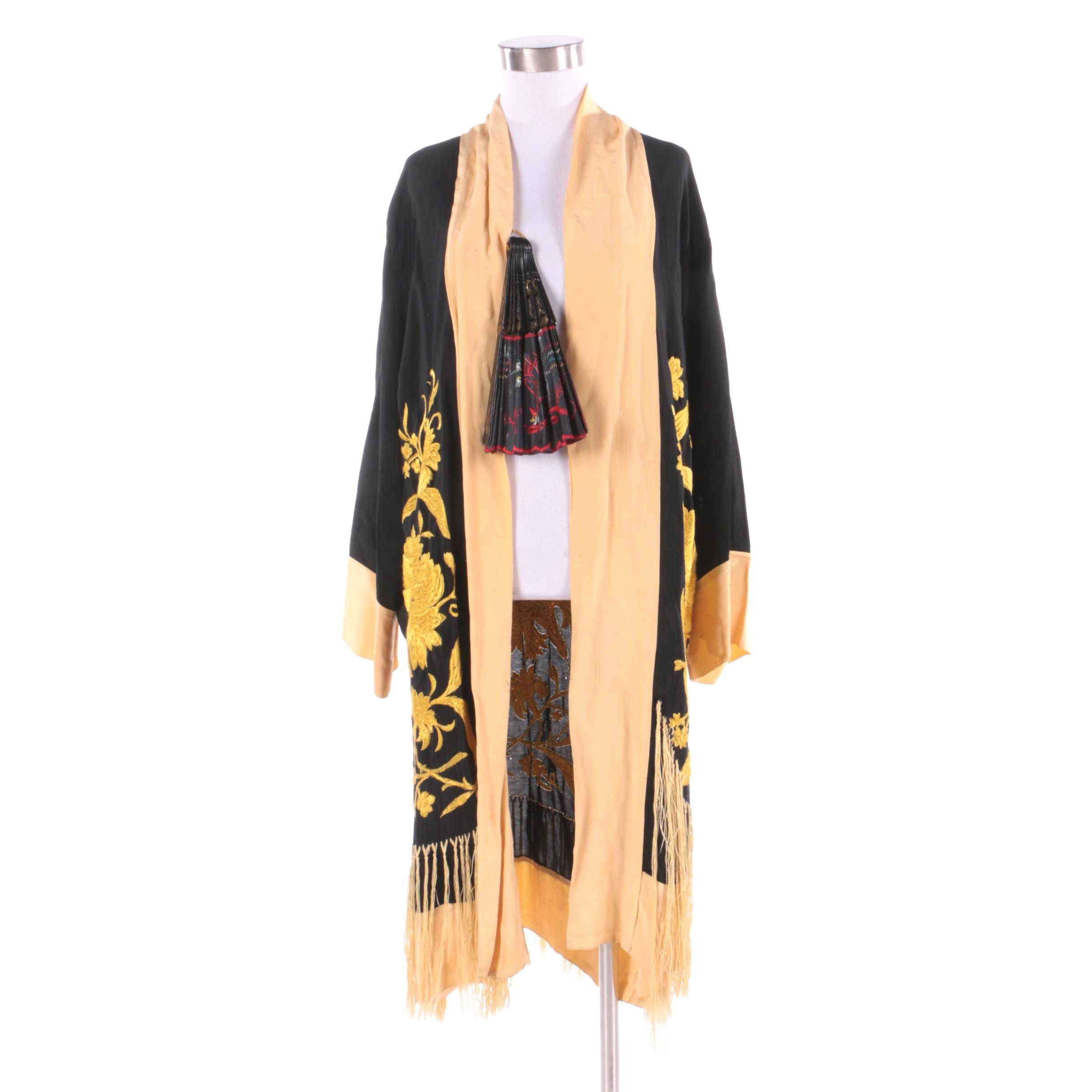 Women's Vintage Asian Inspired Silk Embroidered Fringed Jacket and Handheld Fan