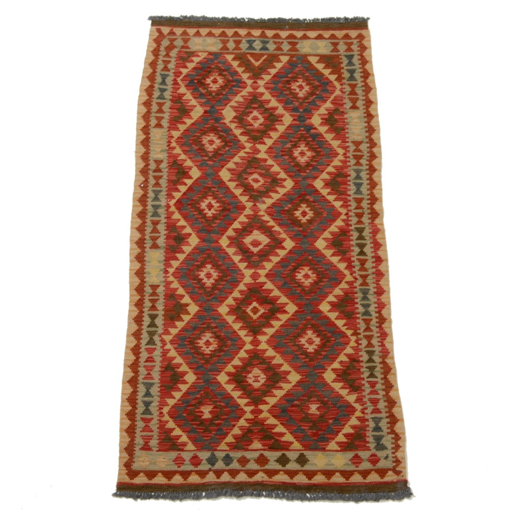Turkish Handwoven Wool Kilim Rug Runner