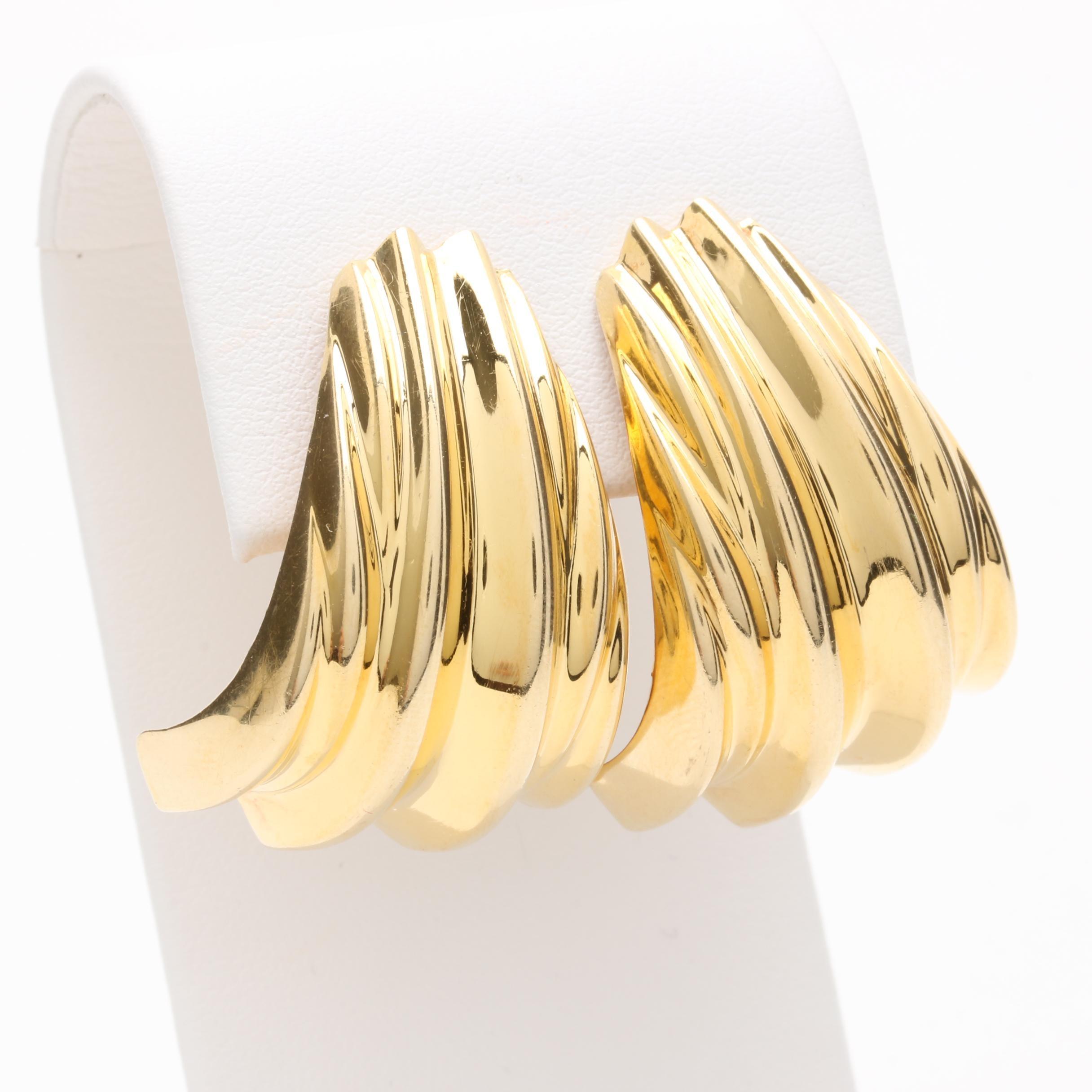 14K Yellow Gold Beveled Drop Earrings