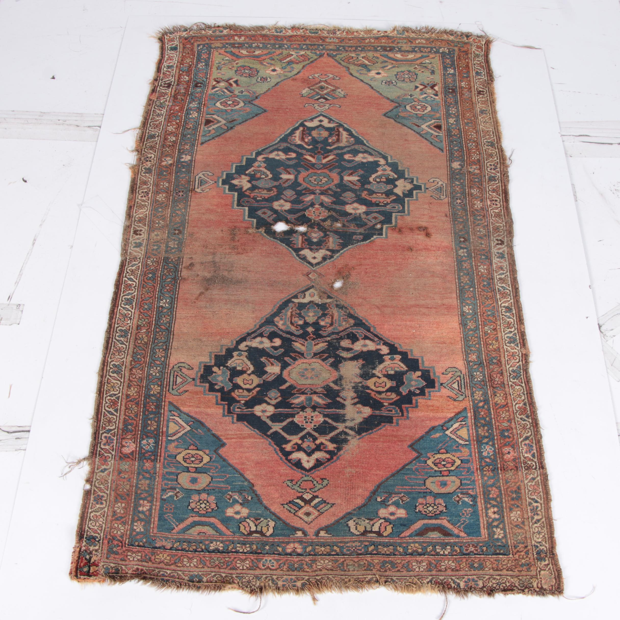 Semi- Antique Hand-Knotted Karaja Wool Accent Rug