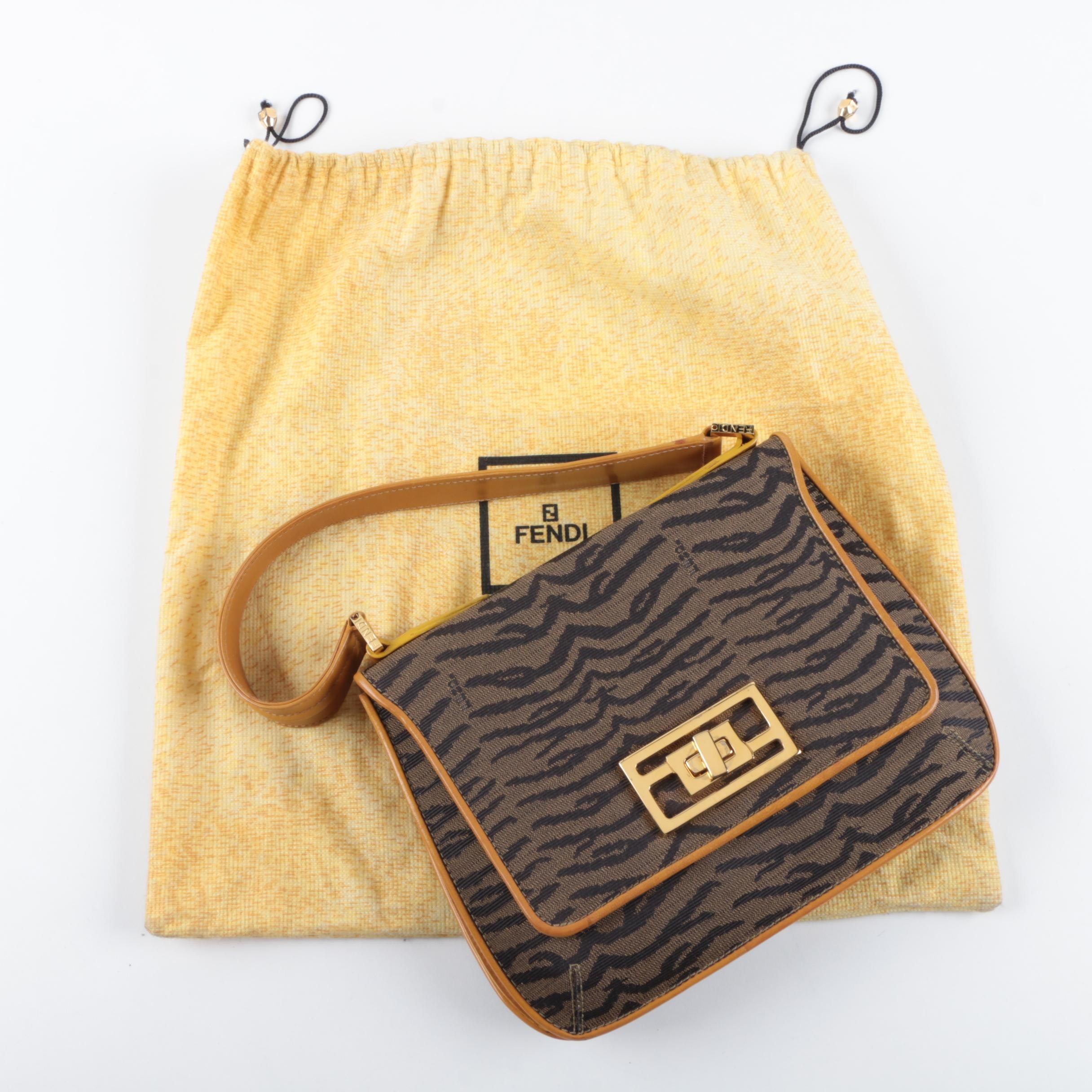 Fendi Tobacco Tiger Patterned Canvas Handbag