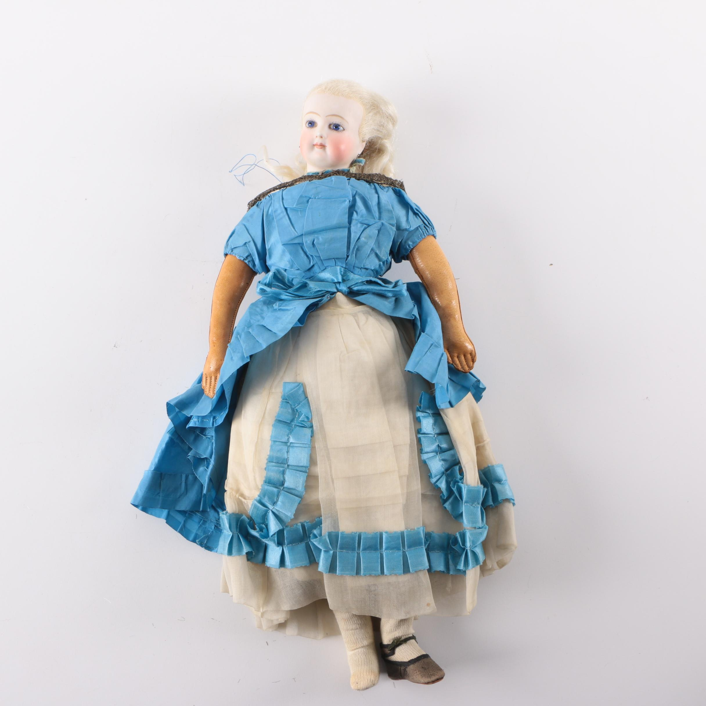 Reproduction of Antique Bisque and Leather French Lady Fashion Doll