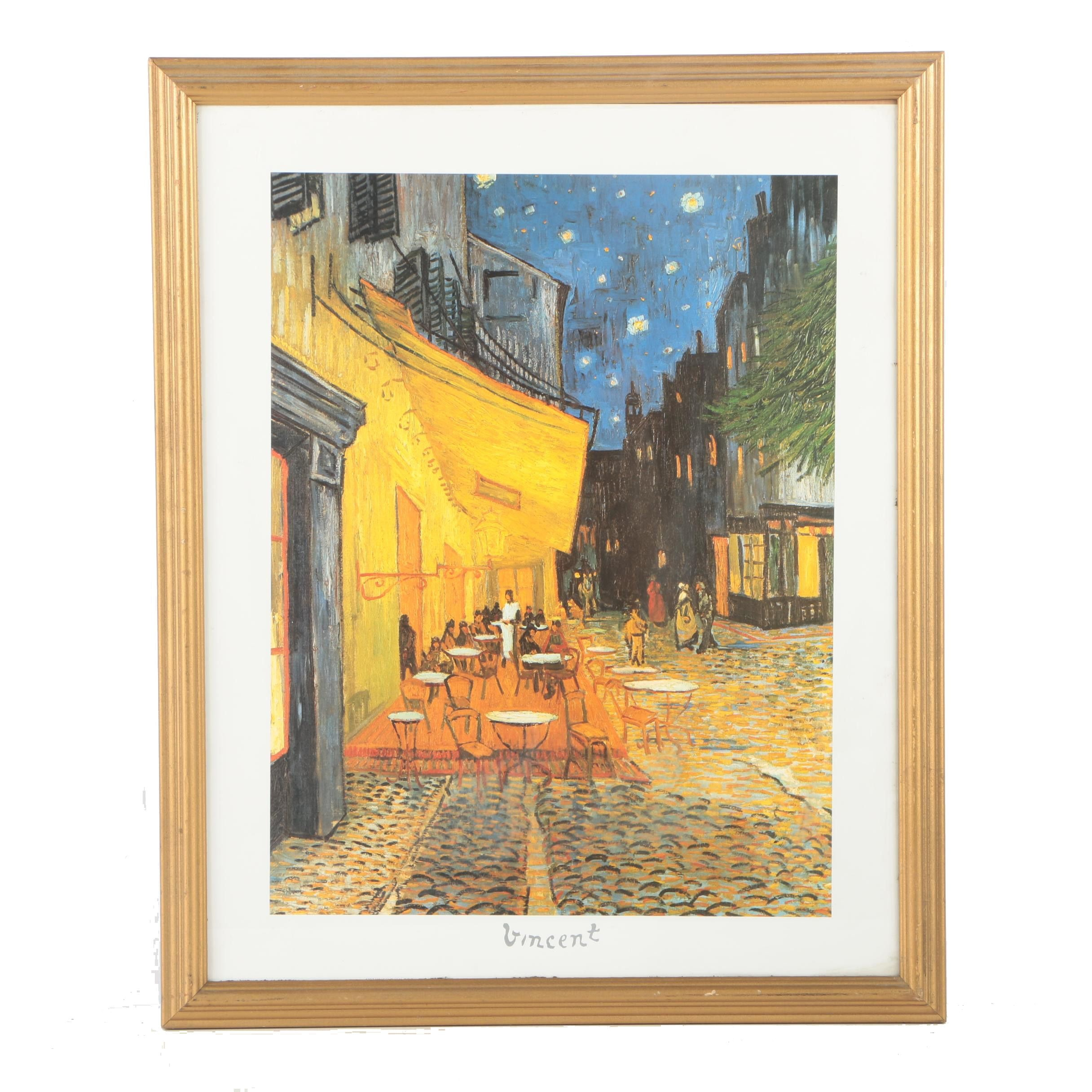 "Offset Lithograph on Paper After Vincent van Gogh's ""Café Terrace at Night"""