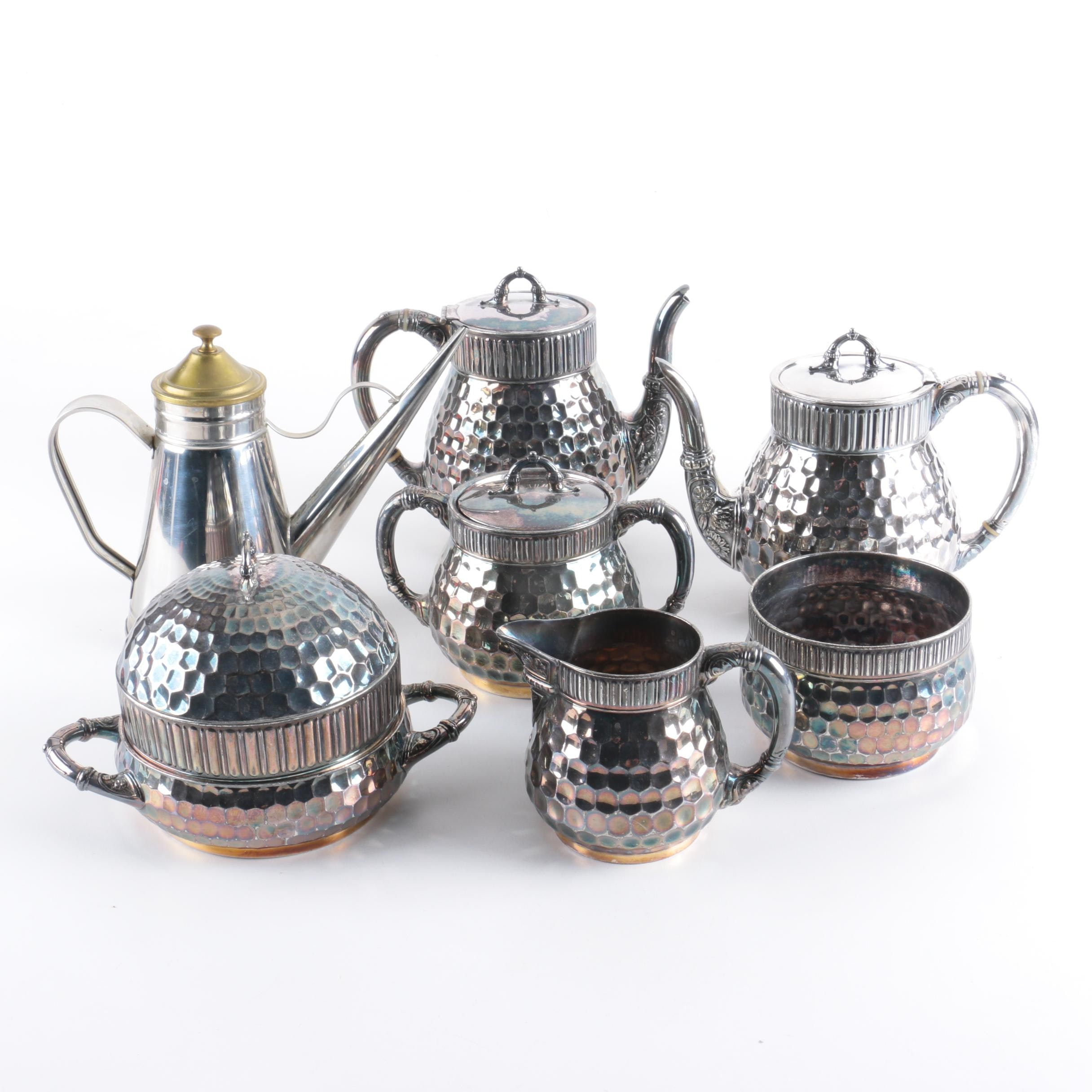 """Vintage Meriden Silver Plate Co. Silver Plate """"Honeycomb"""" Coffee and Tea Service"""