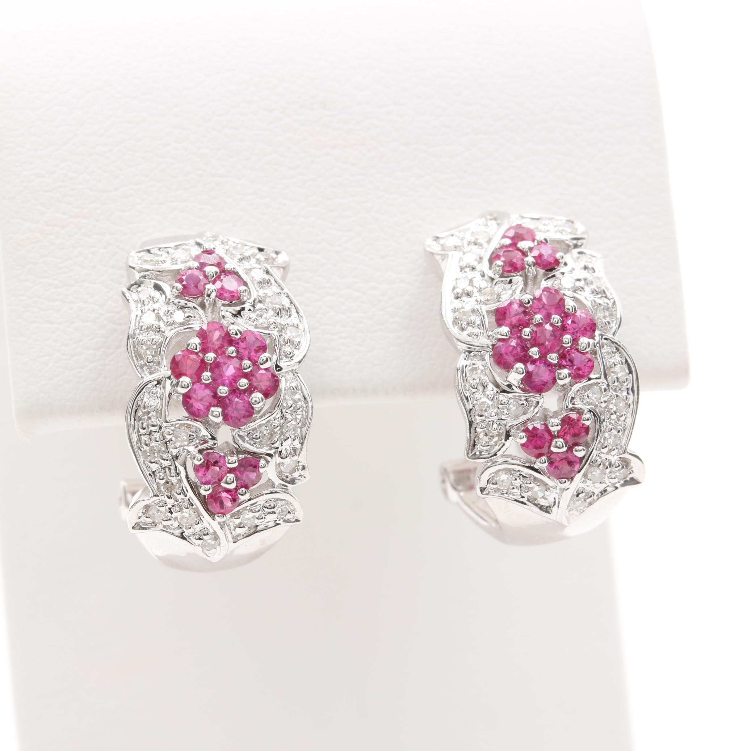 14K White Gold Ruby and Diamond Earrings
