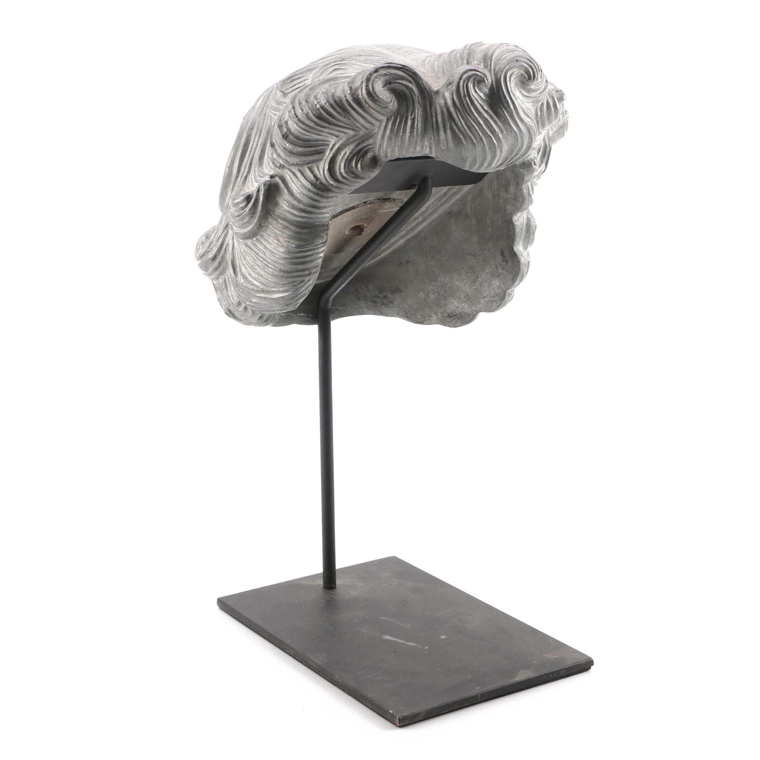 Metal Plaster Sculpture of Wig with 1940s Coiffure