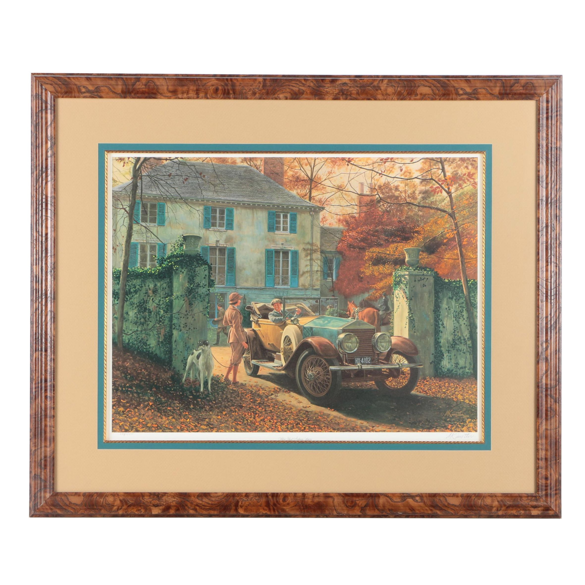 "Mort Künstler Limited Edition Offset Lithograph ""Silver Ghost, Autumn Leaves"""