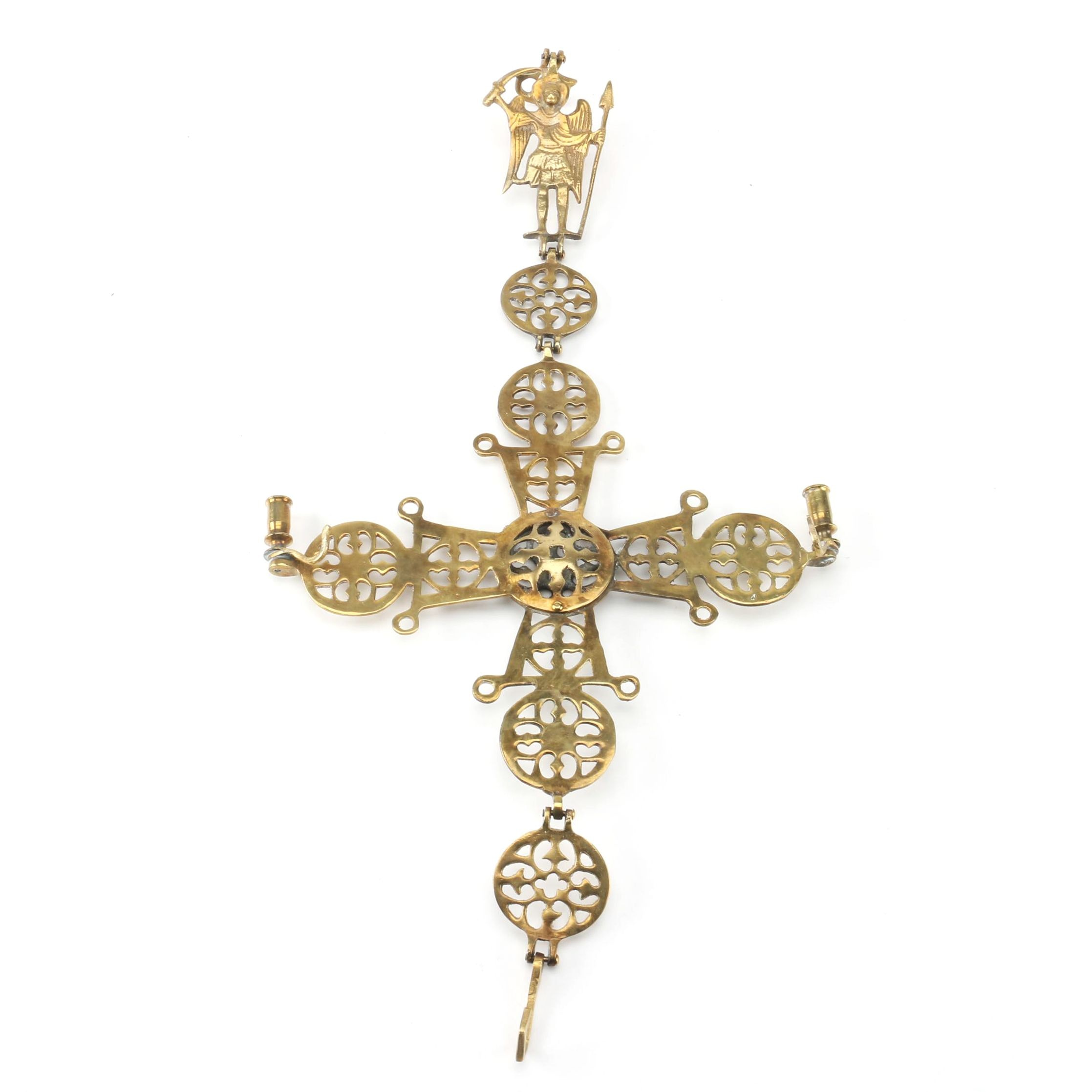 Brass Byzantine Cross Hanging Candle Holder