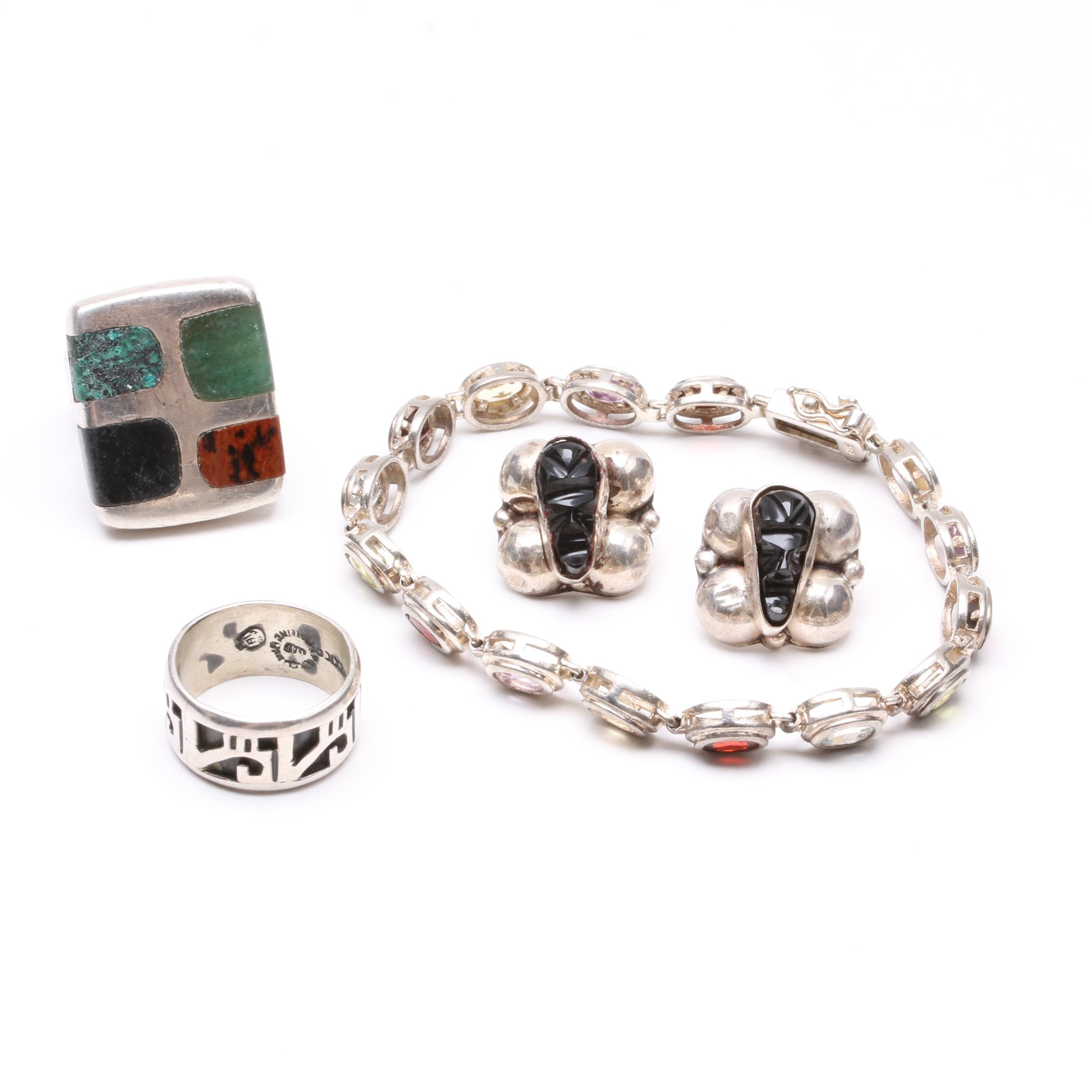 Sterling Silver Jewelry Including Amethyst, Garnet, Blue Topaz and More