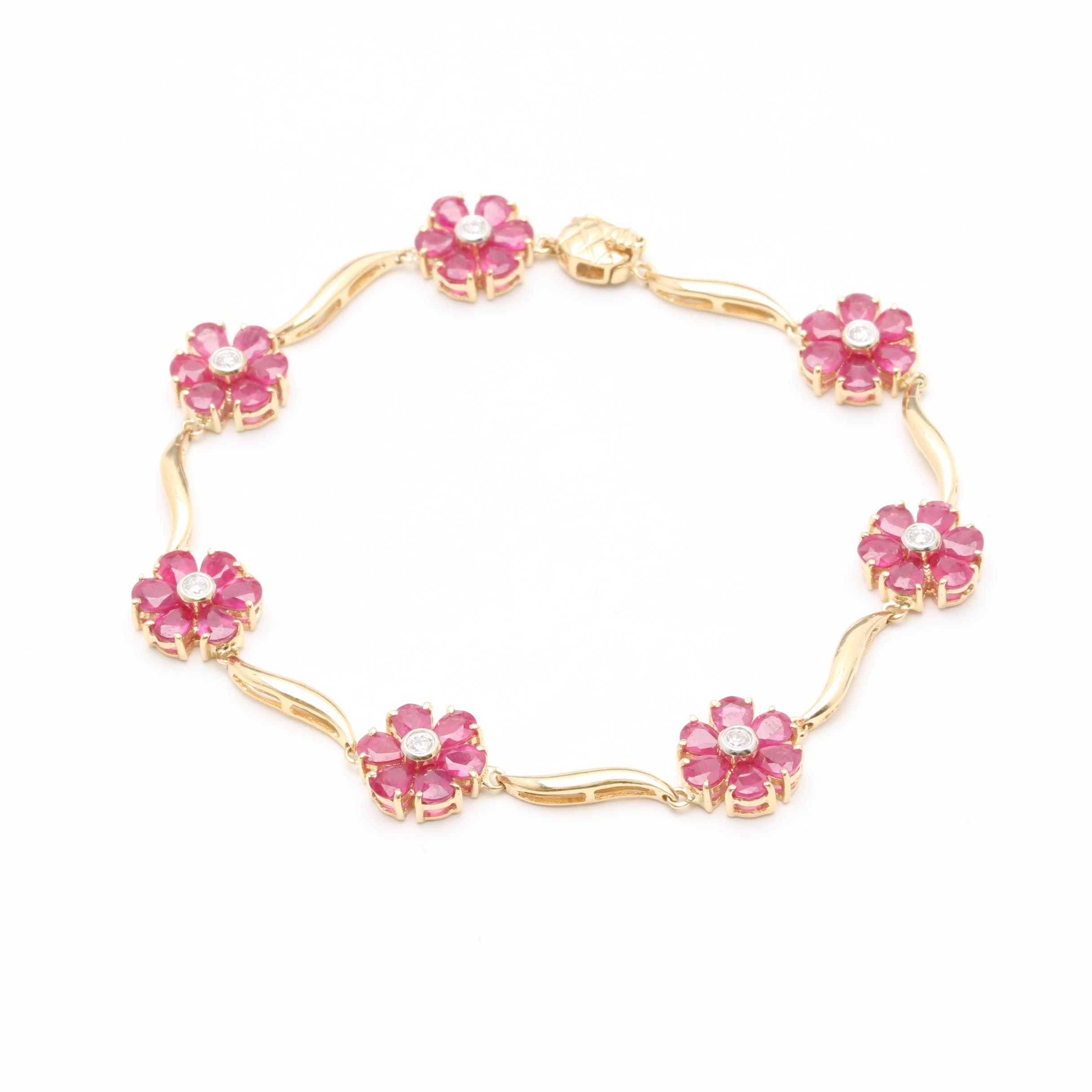 14K Yellow Gold Diamond and Ruby Flower Bracelet