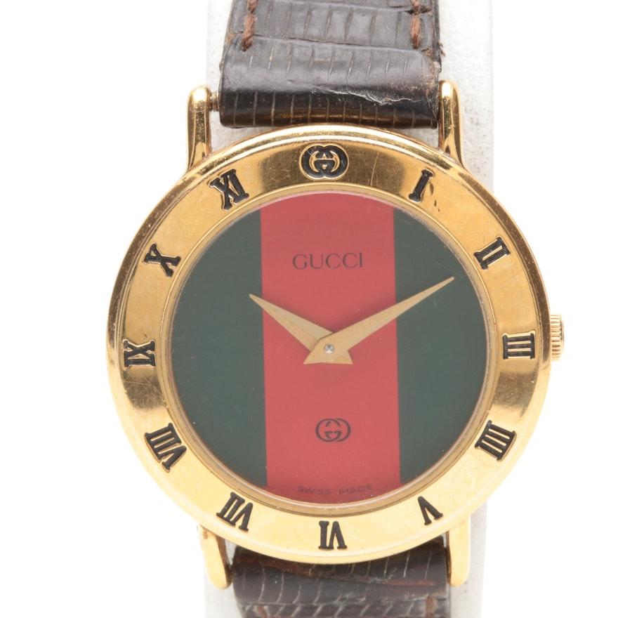 c458641af07 Gucci Gold-Tone Brown Leather Wristwatch   EBTH