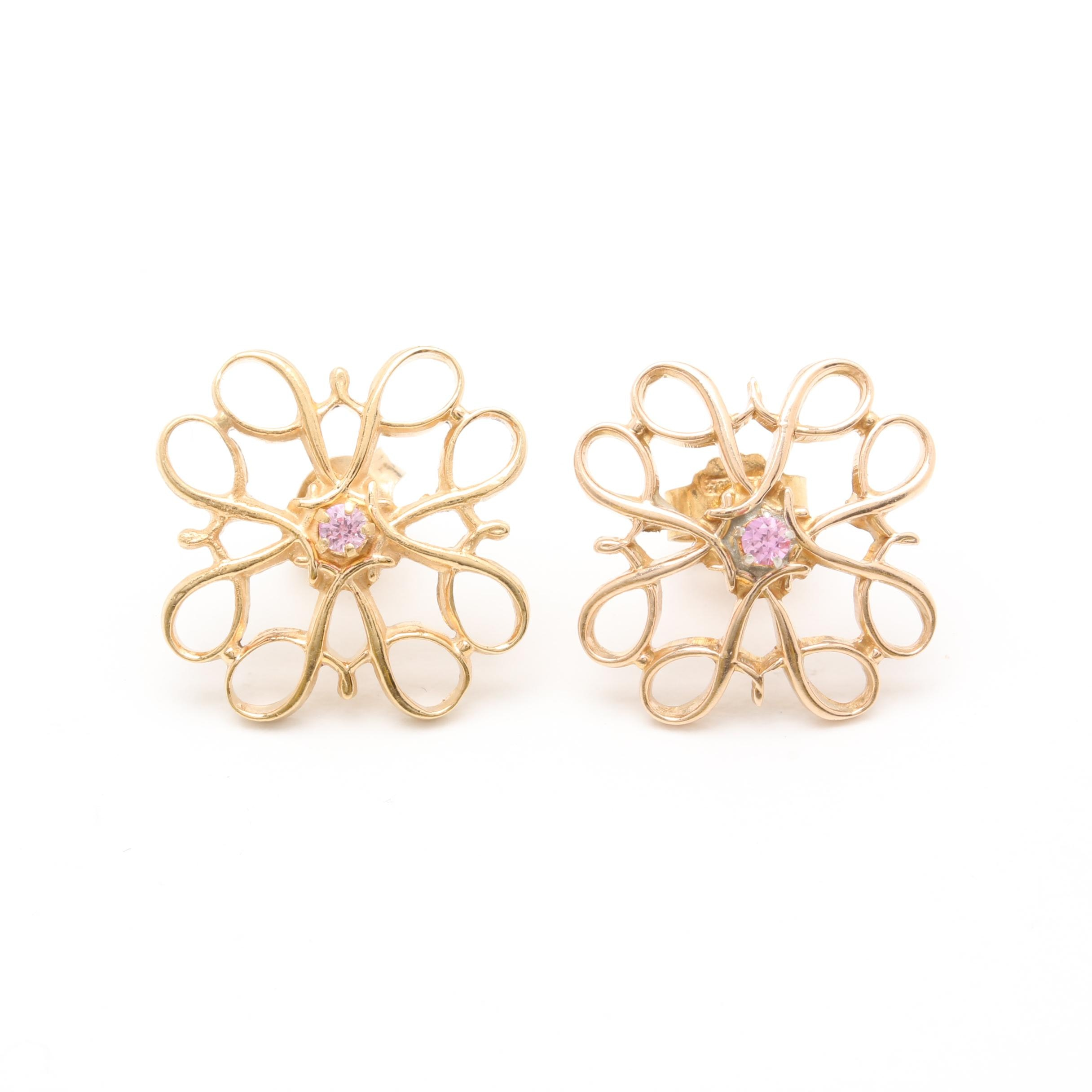 Gold Filled Pink Sapphire Scrolled Earrings