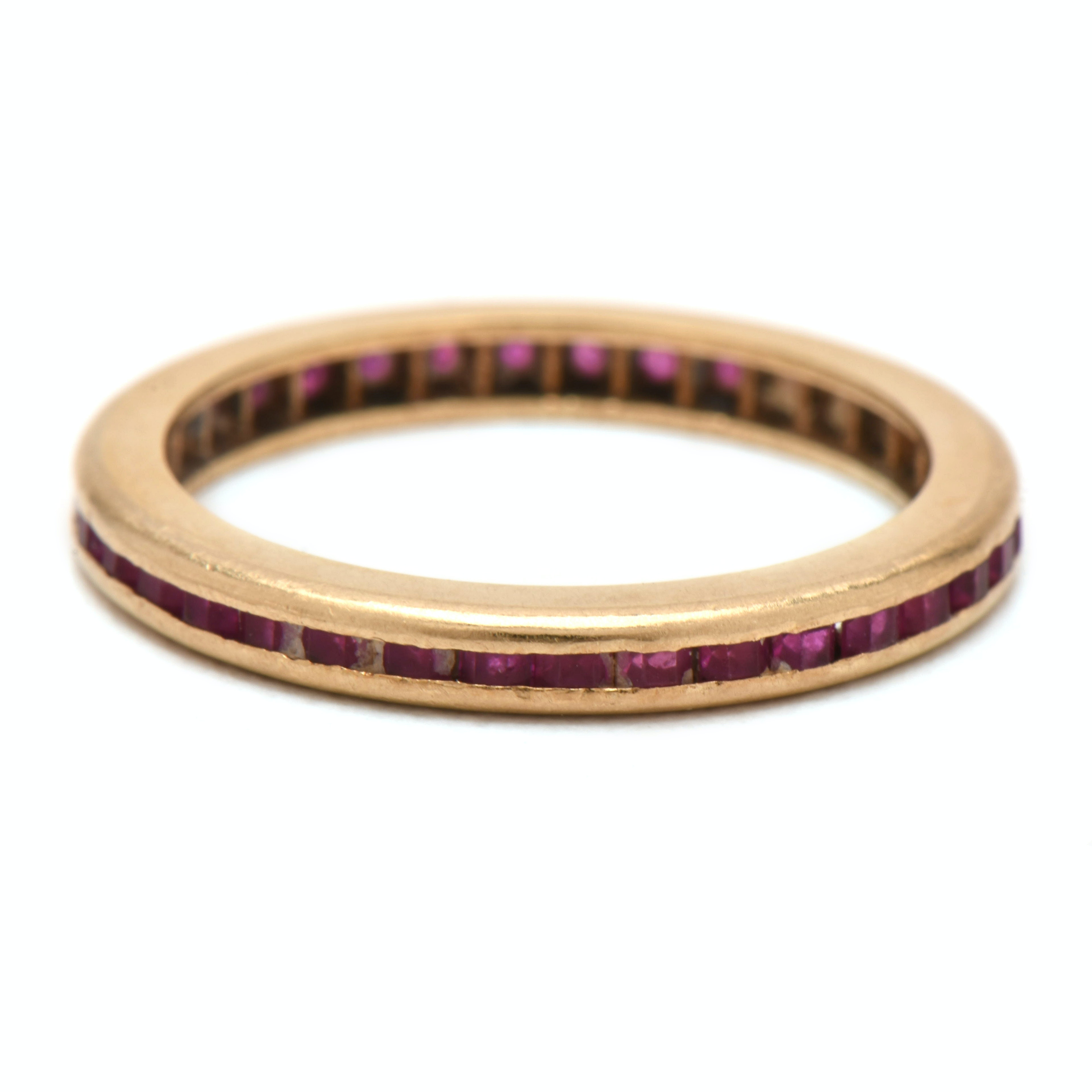 Vintage 14K Yellow Gold Synthetic Ruby Band