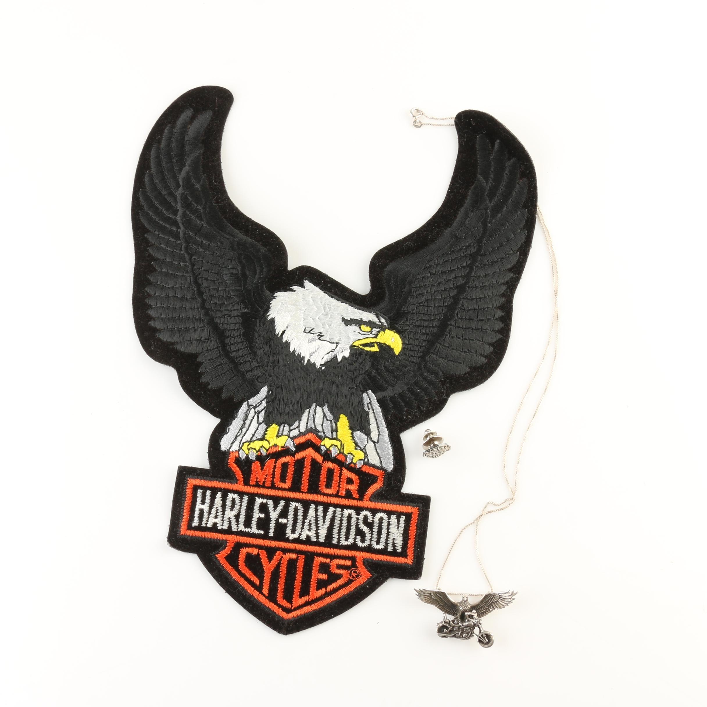 Harley Davidson Patch and Jewelry Including Sterling Silver