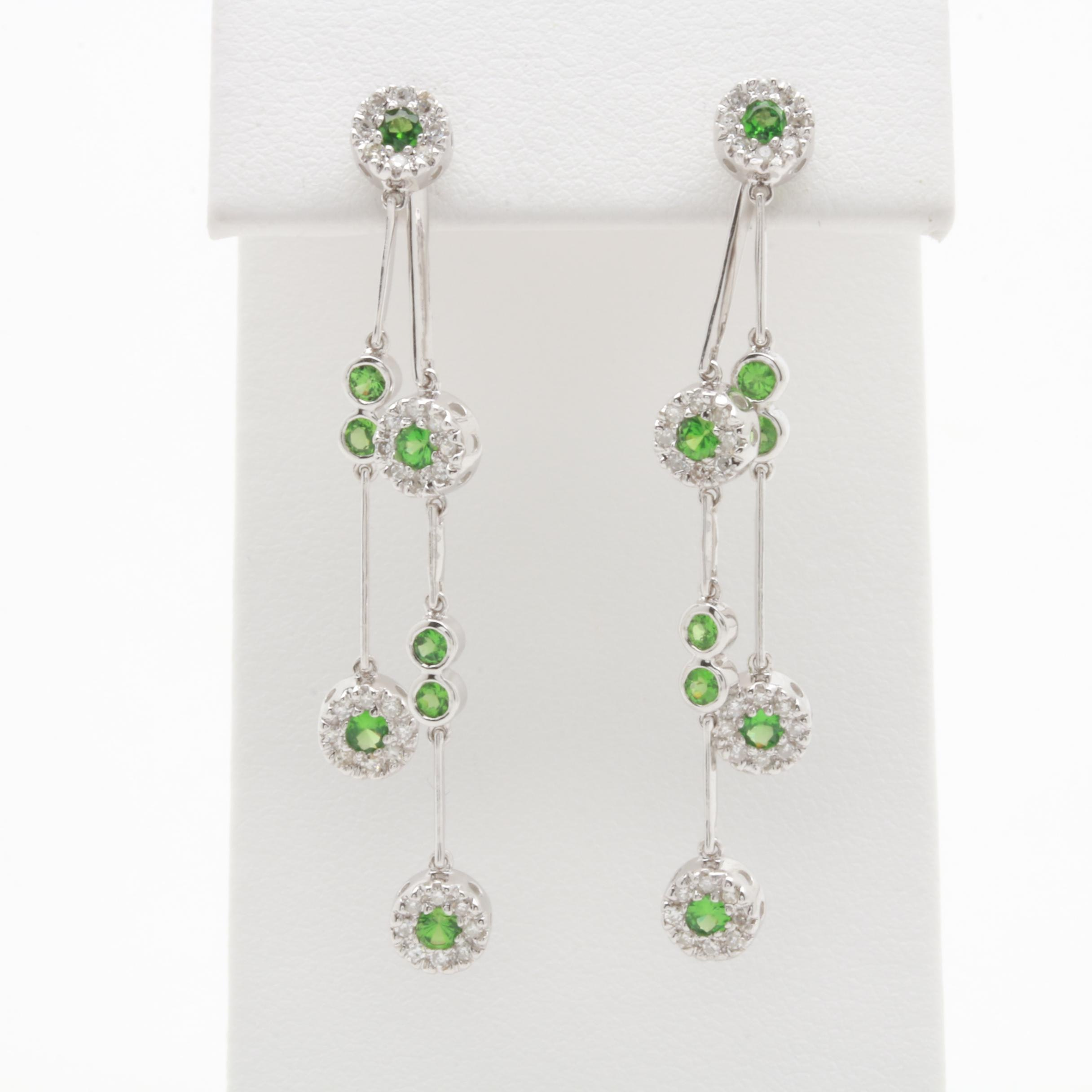 14K White Gold Tsavorite and Diamond Drop Earrings With Jackets