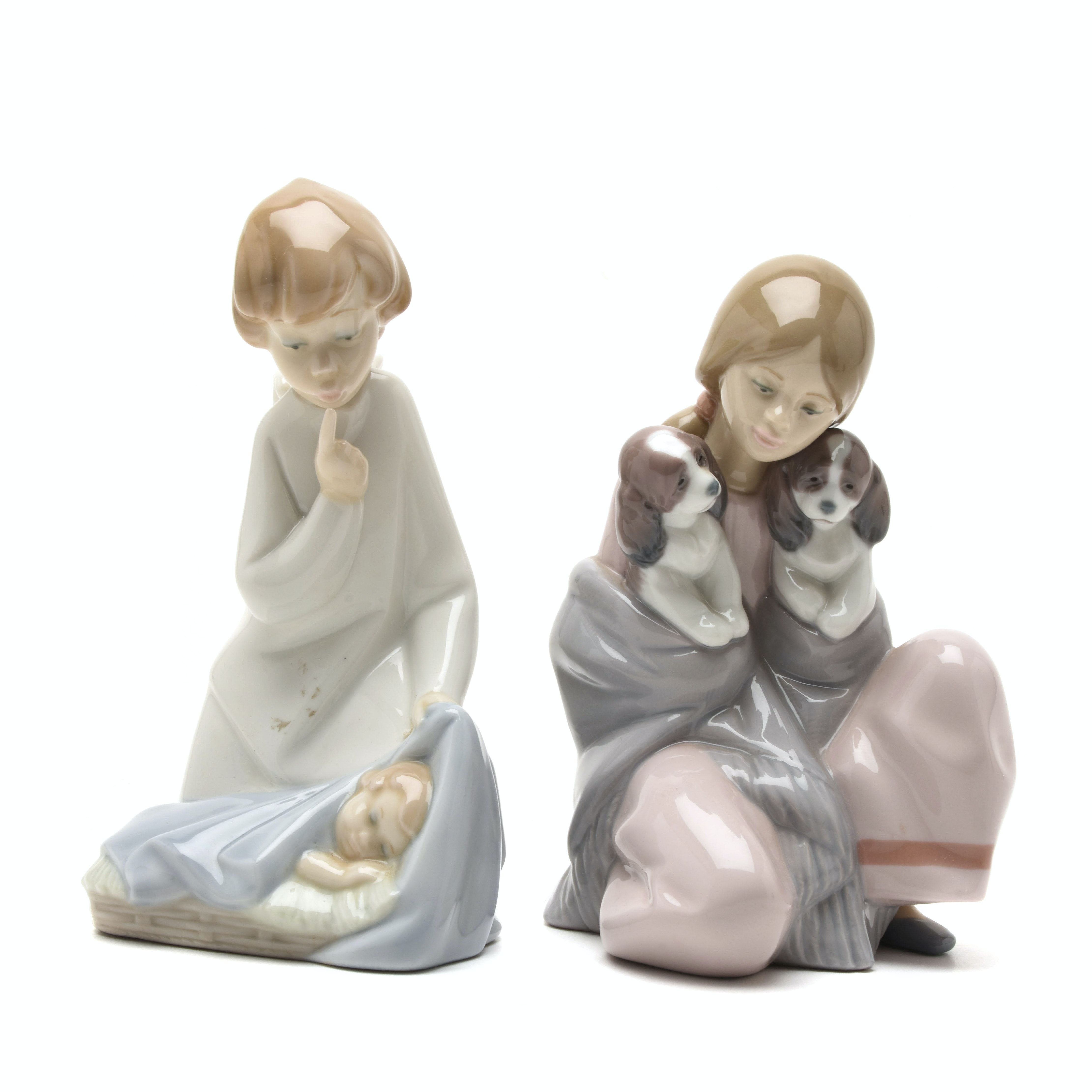 """Lladró Porcelain Angel and Baby and """"Snuggle Up"""" #6226 Figurines"""