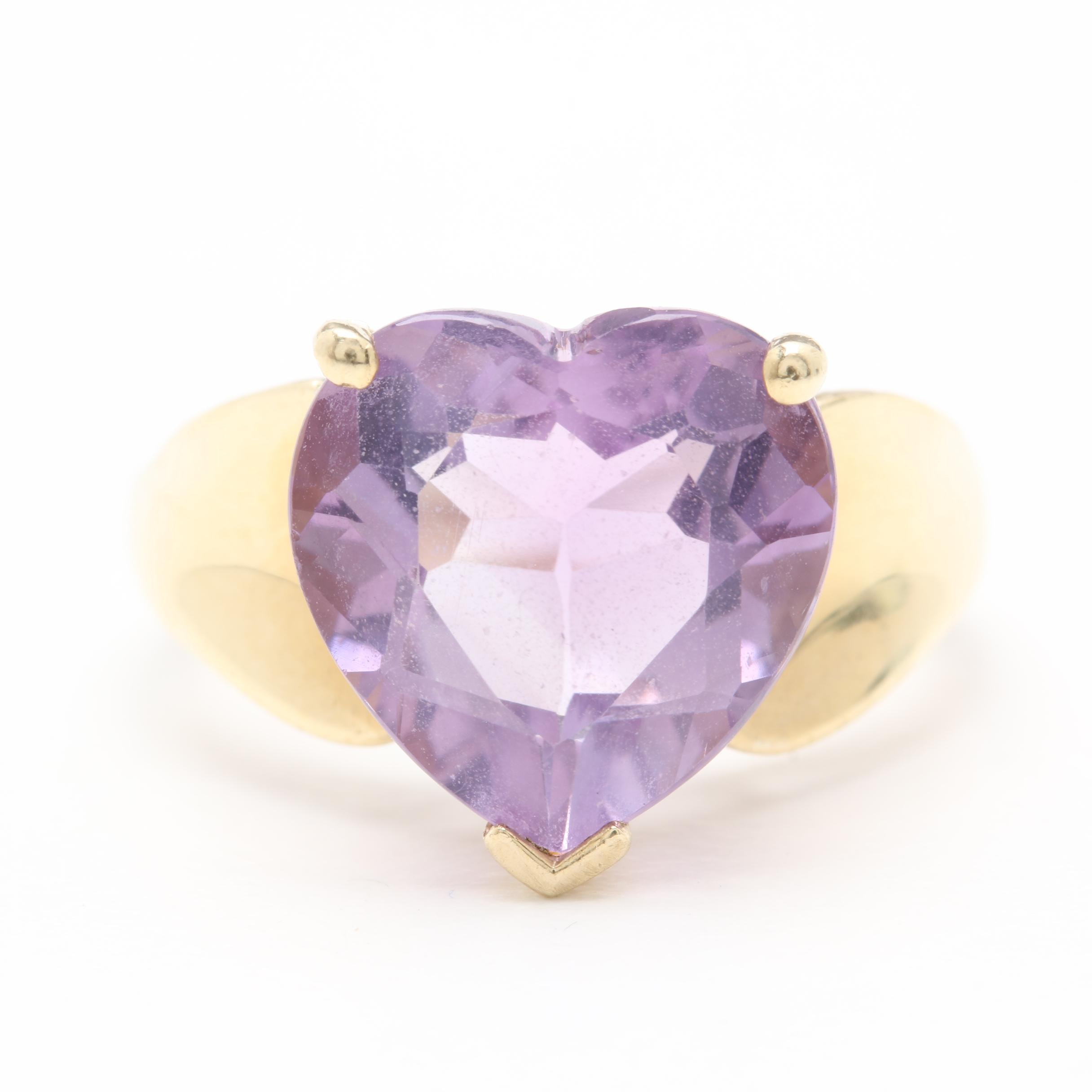 10K Yellow Gold Heart Faceted Amethyst Ring