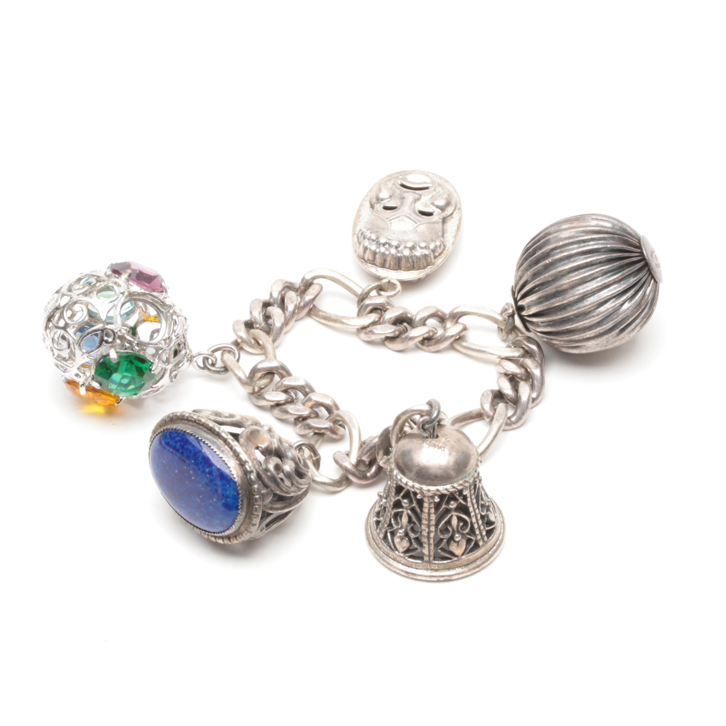 Danecraft Sterling Silver Charm Bracelet with Glass Accents