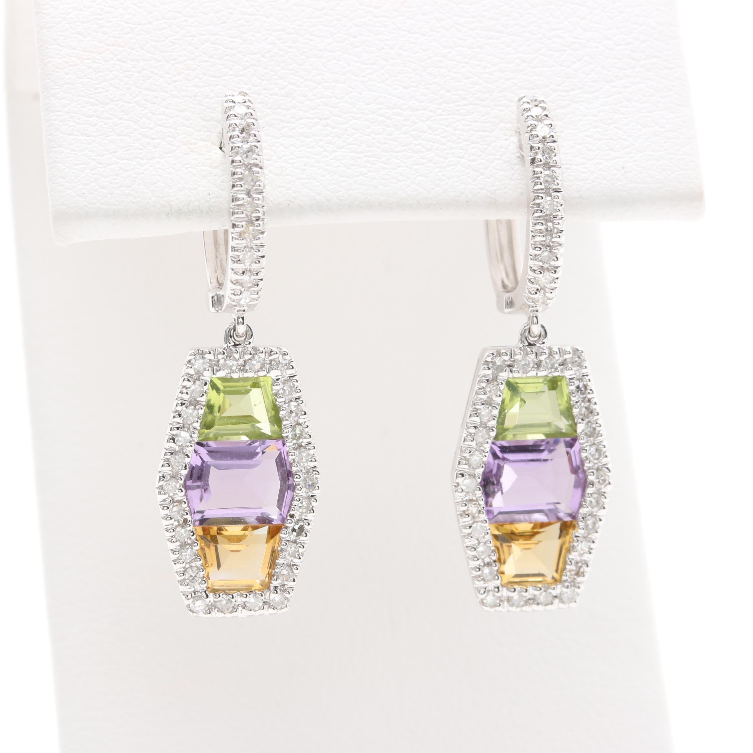 10K White Gold Gemstone Earrings Including Diamonds