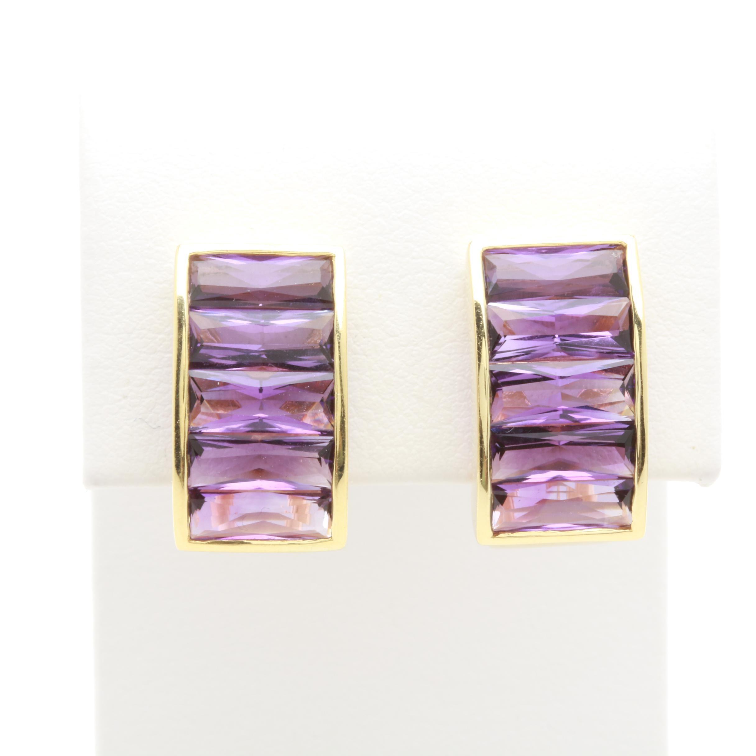 18K Yellow Gold Amethyst Earrings
