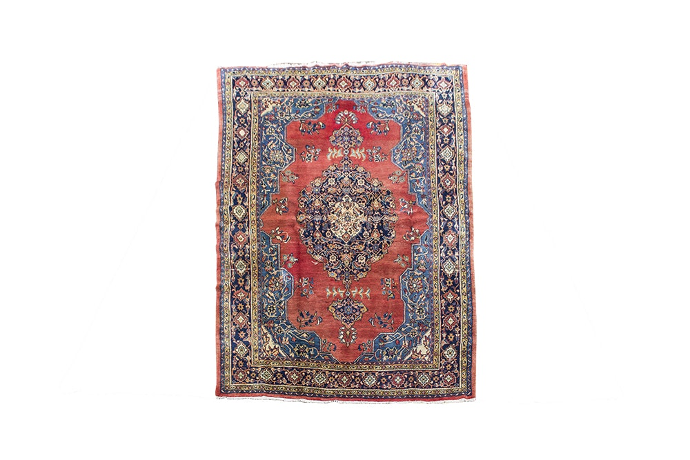 Vintage Hand-Knotted Persian Isfahan Golpayegan Wool Area Rug