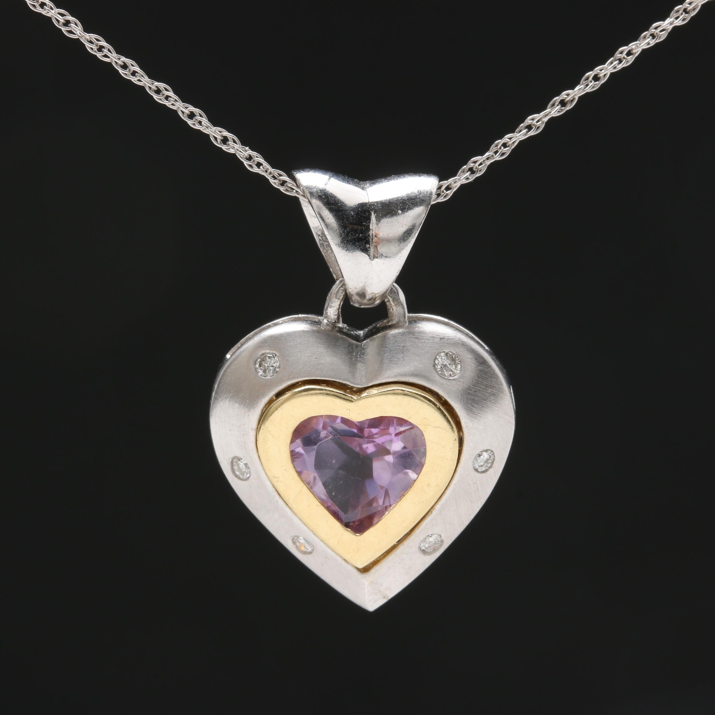 14K White Gold Amethyst and Diamond Heart Pendant Necklace