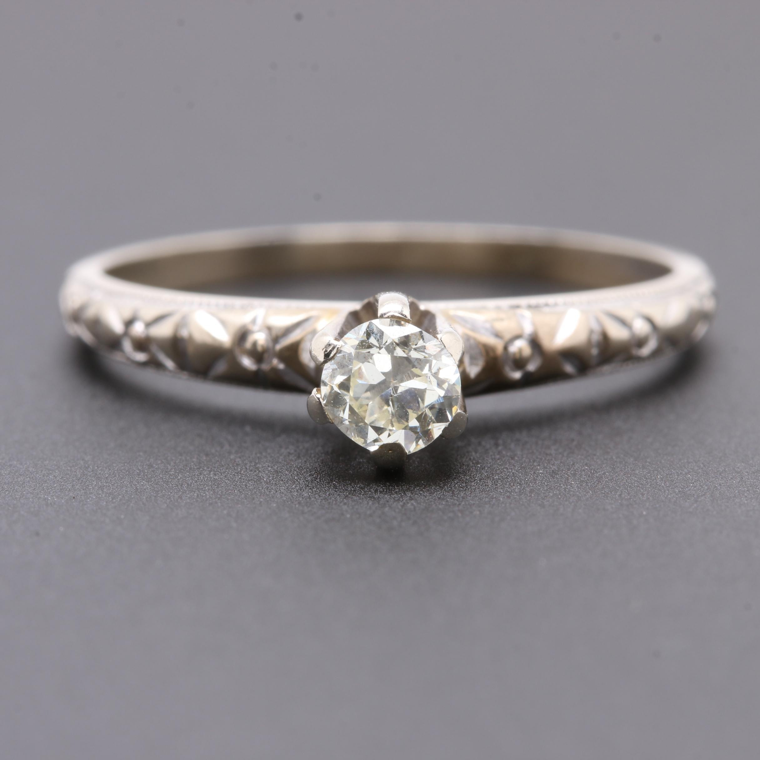 Circa 1920 - 1930s 14K White Gold Diamond Solitaire Ring