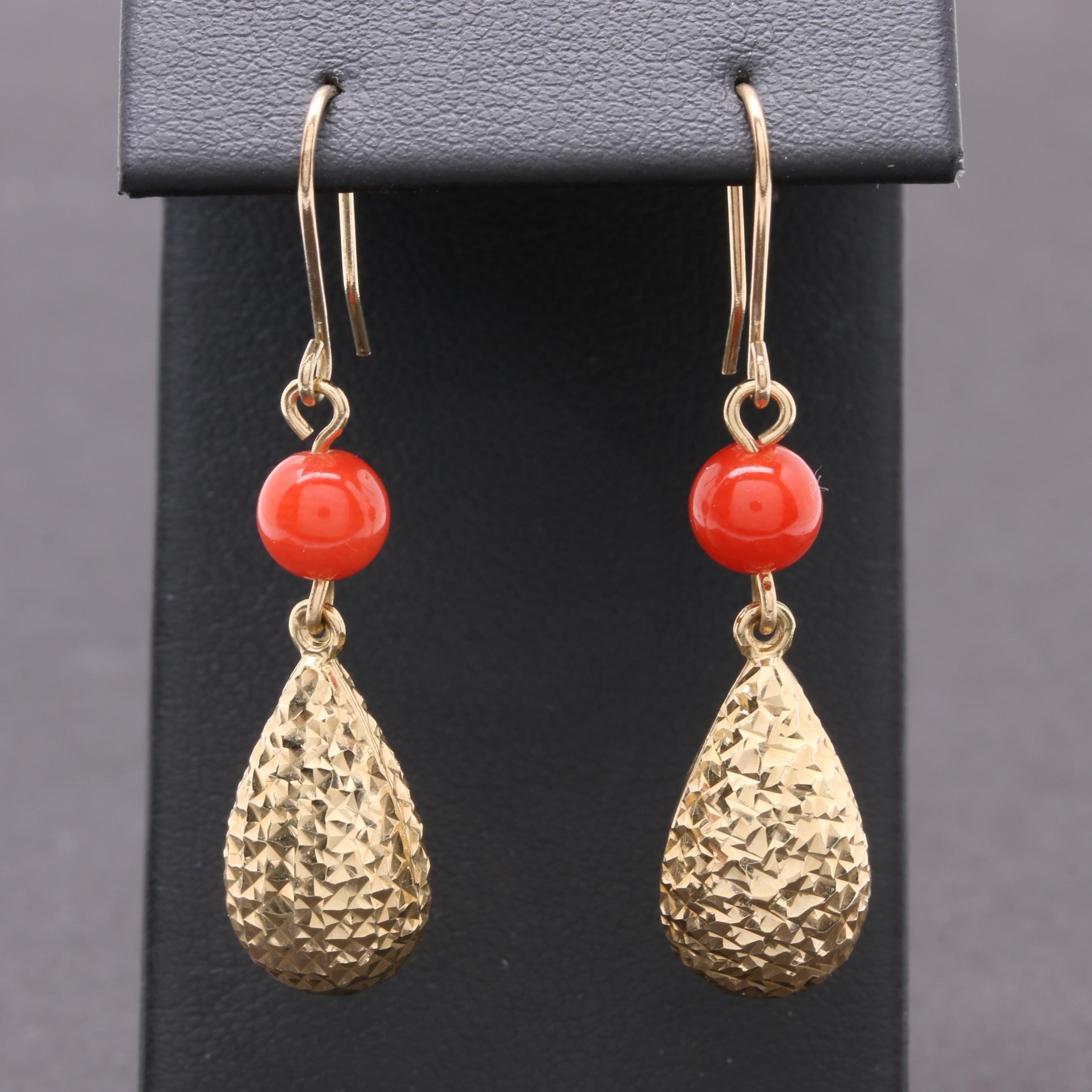 14K Yellow Gold Coral Dangle Earrings