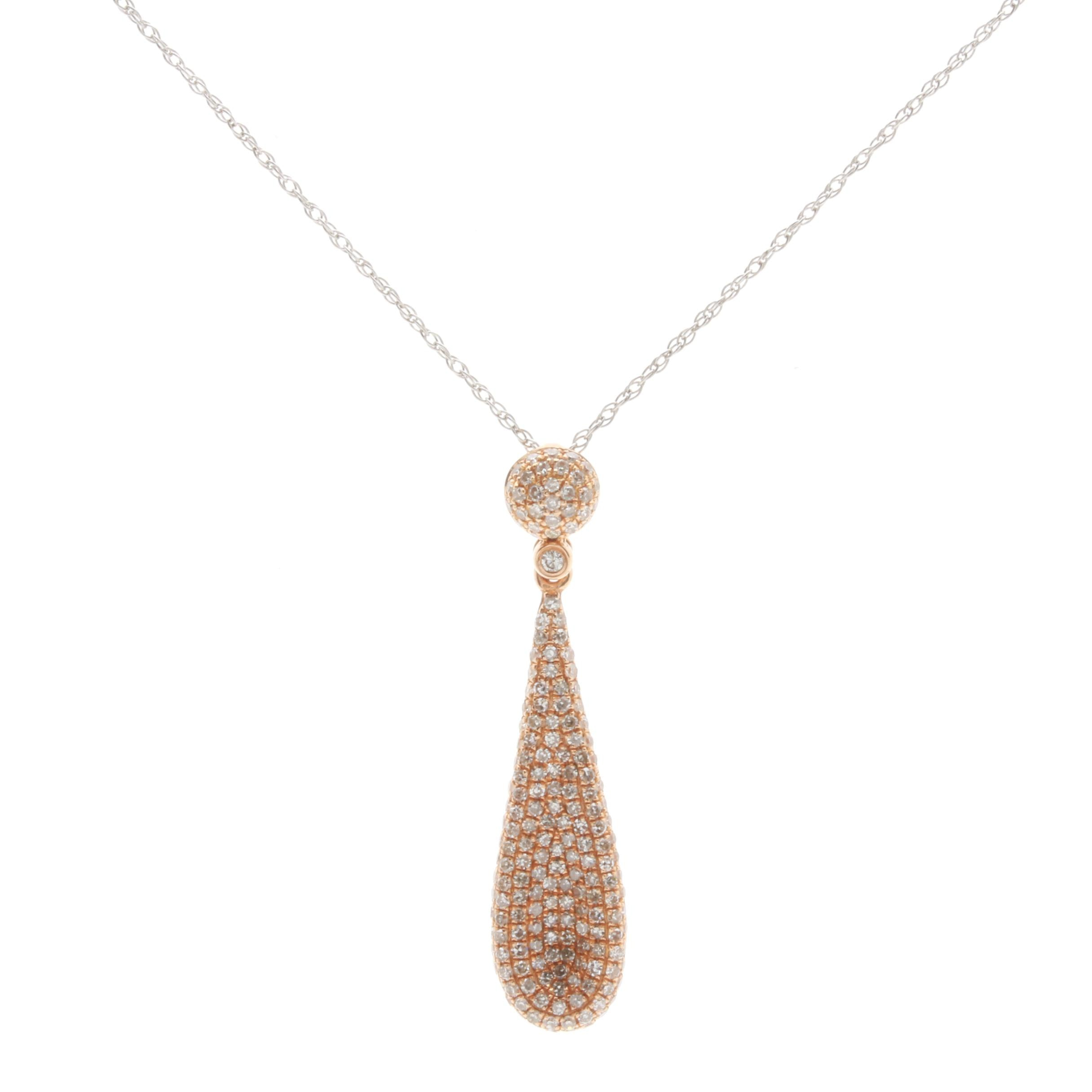 14K White Gold and 18K Rose Gold Diamond Pendant Necklace