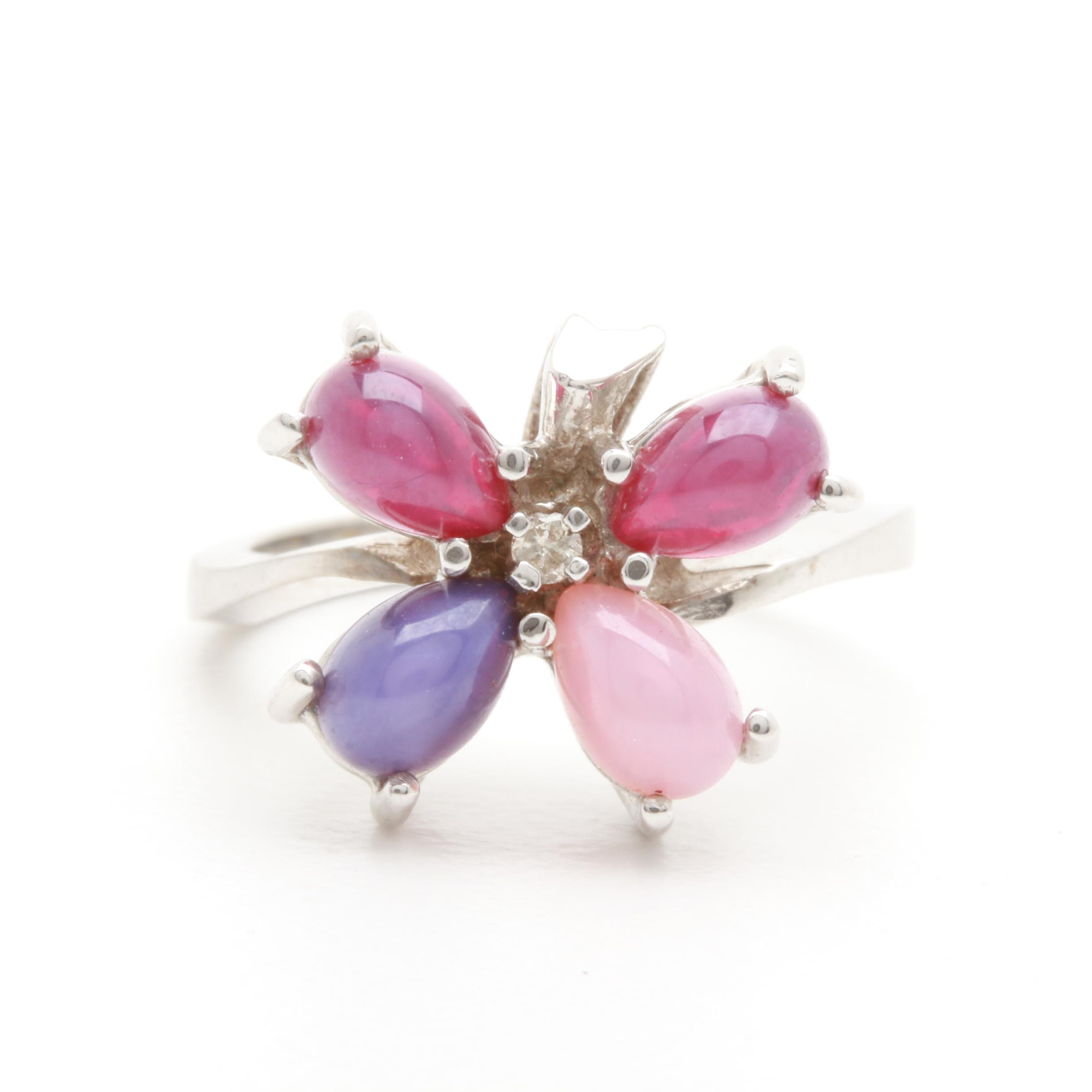 10K White Gold Synthetic Star Sapphire, Ruby and Diamond Butterfly Ring