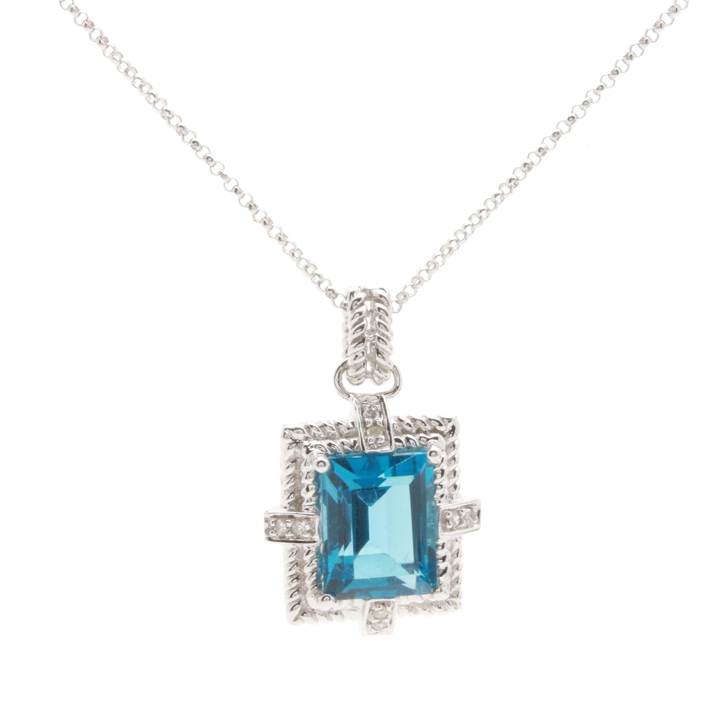 14K White Gold Blue Topaz and Diamond Pendant Necklace