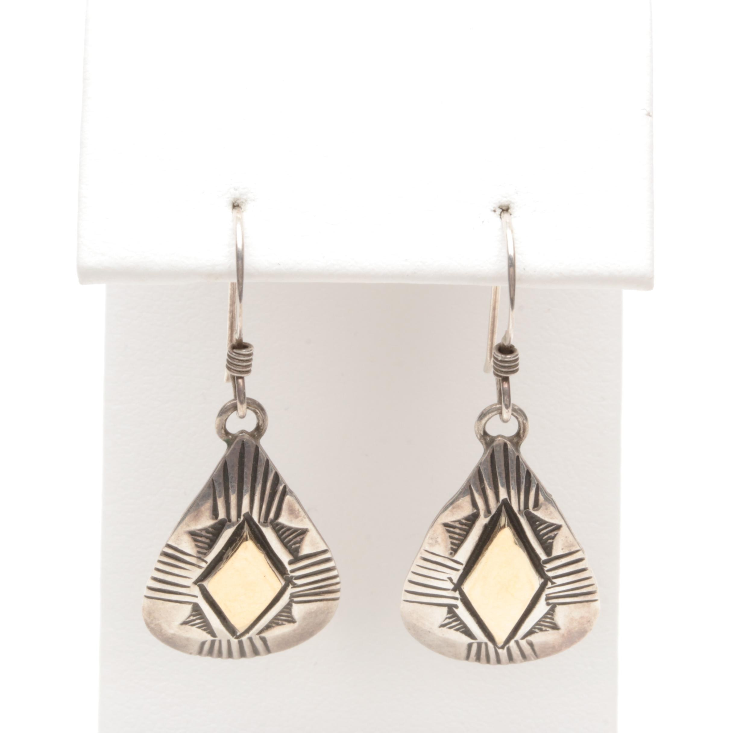 Ray Tafoya Navajo Diné Sterling Silver Earrings with 14K Yellow Gold Accents