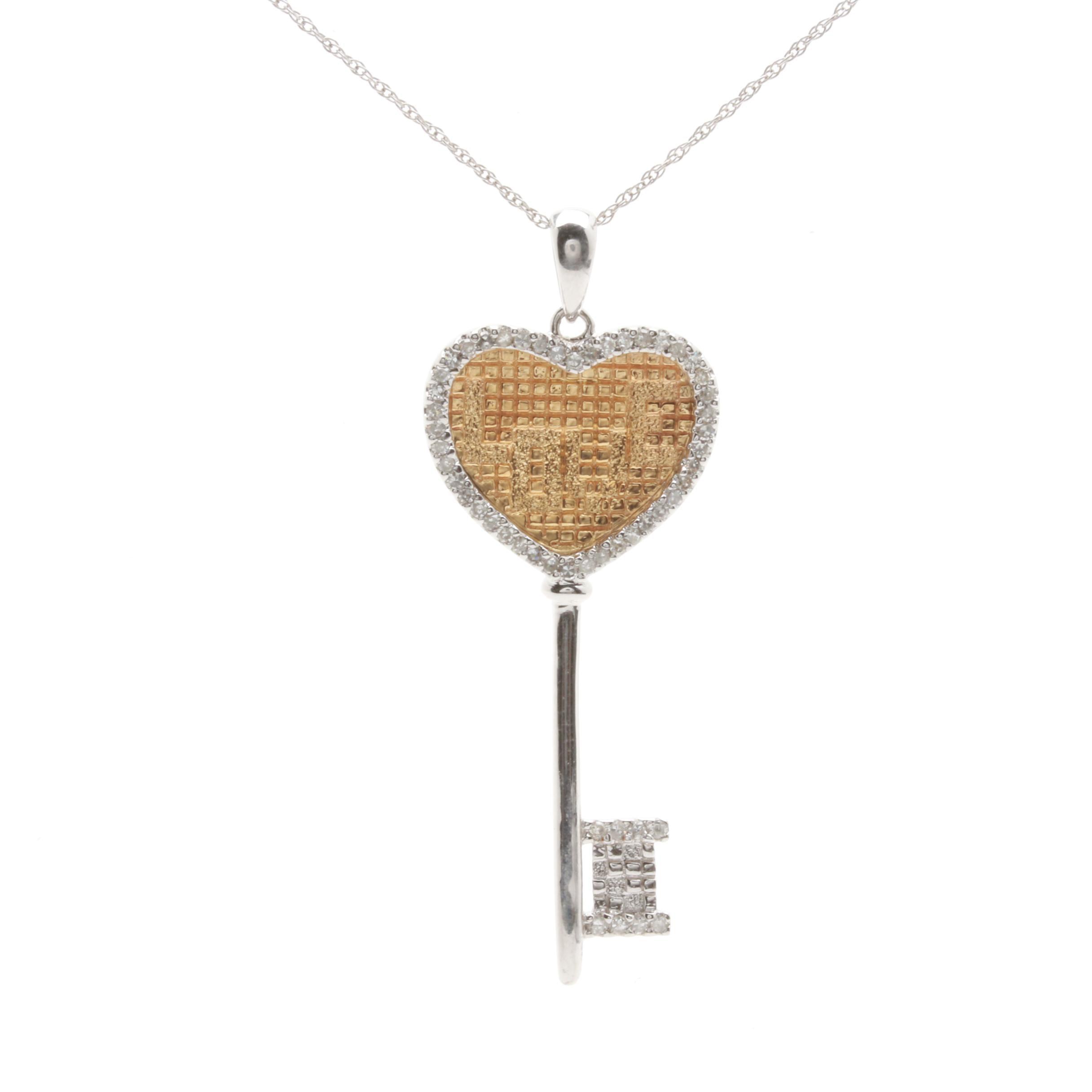 14K White and Yellow Gold Diamond Heart Key Pendant Necklace