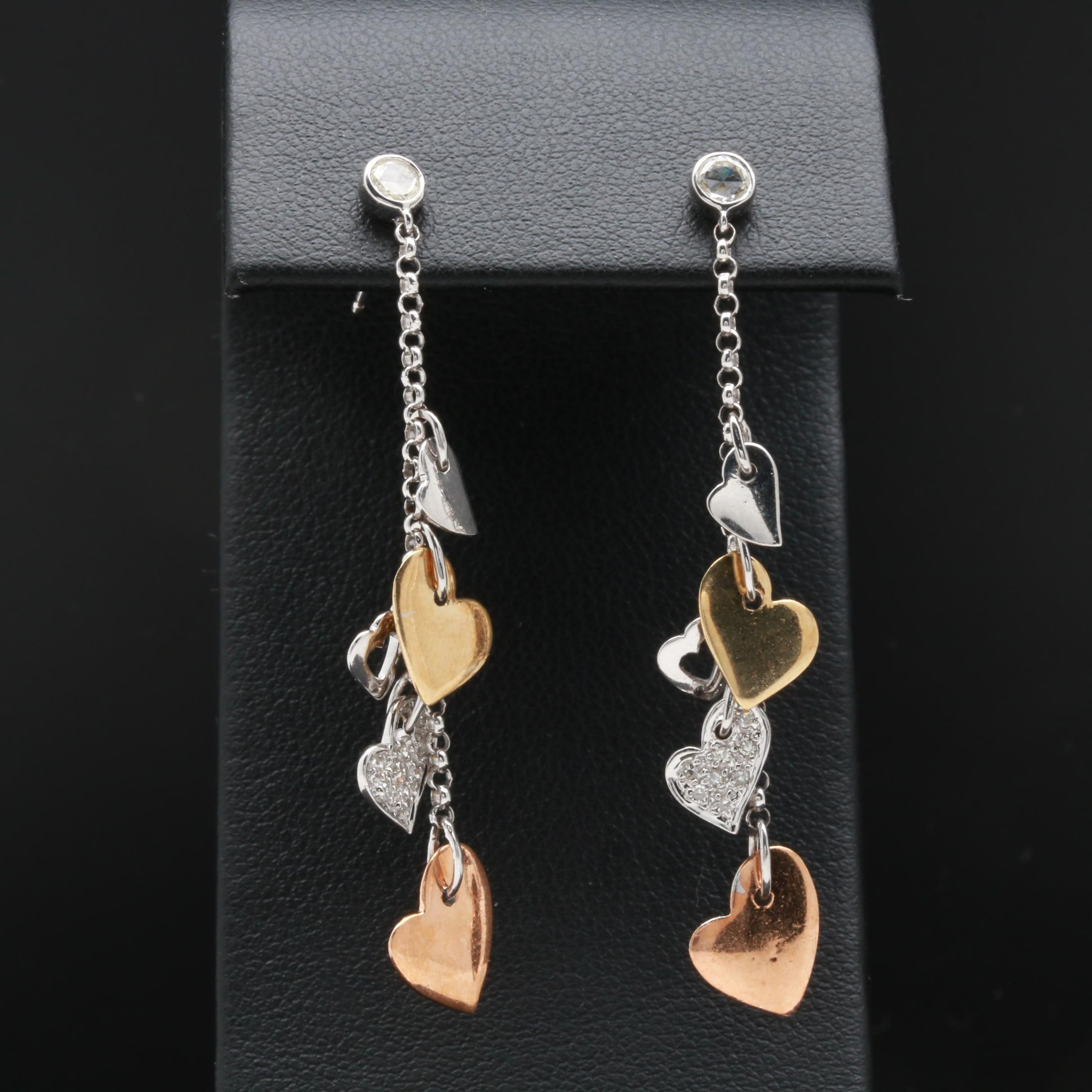 14K Tri-Color Gold and Diamond Earrings