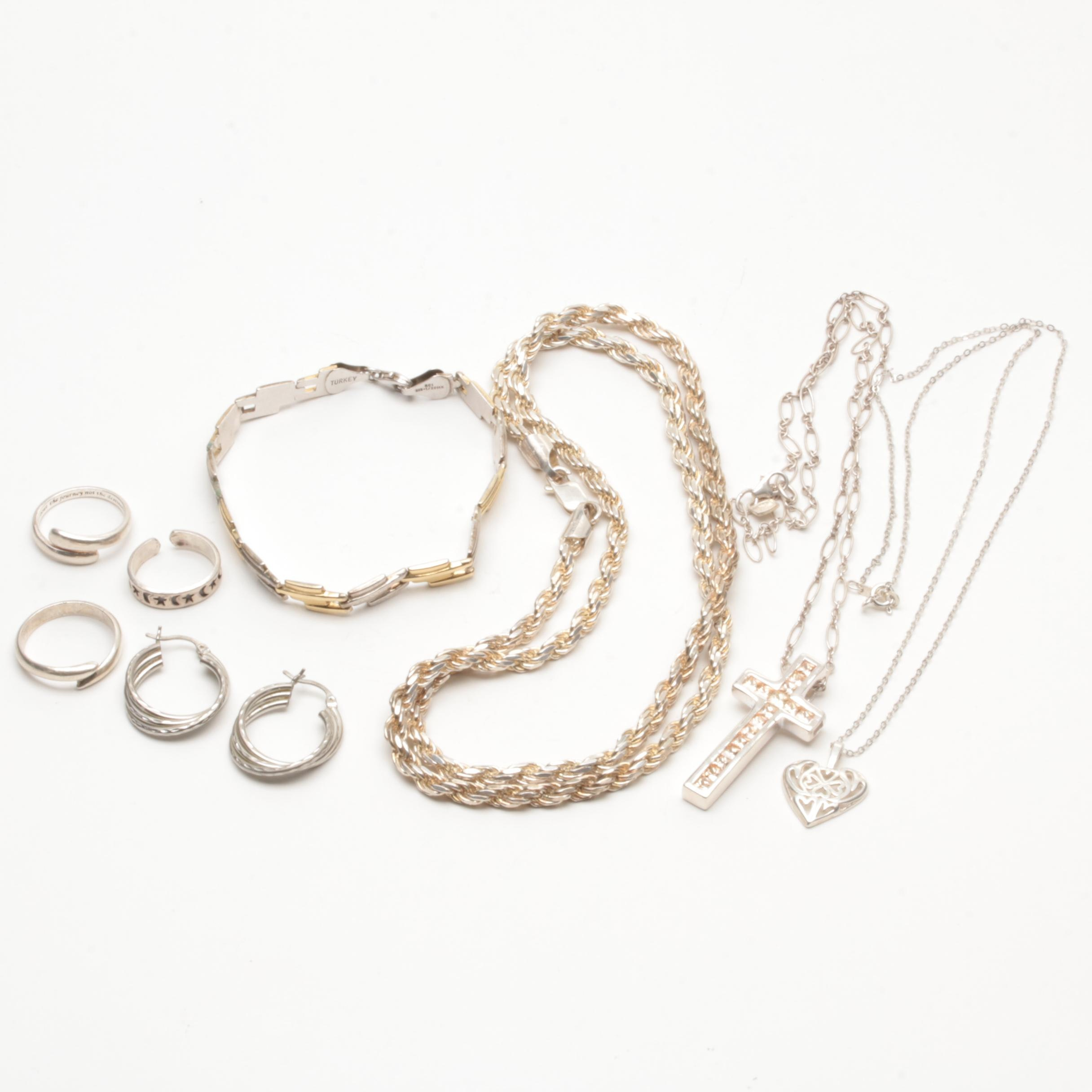 Sterling Silver Jewelry Collection Including Cubic Zirconia and Fine Silver