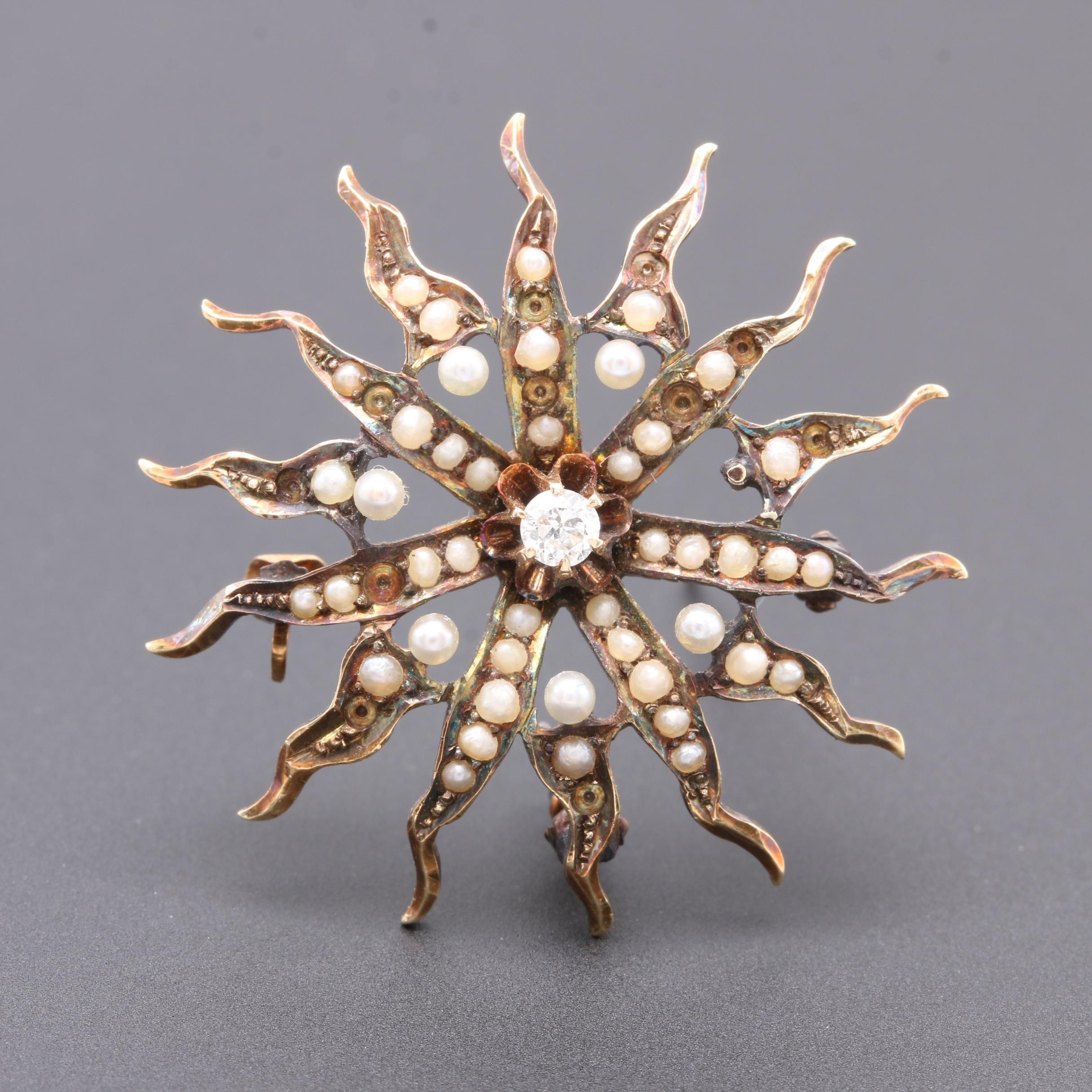 Circa 1890-1900 14K Yellow Gold Diamond and Seed Pearl Brooch