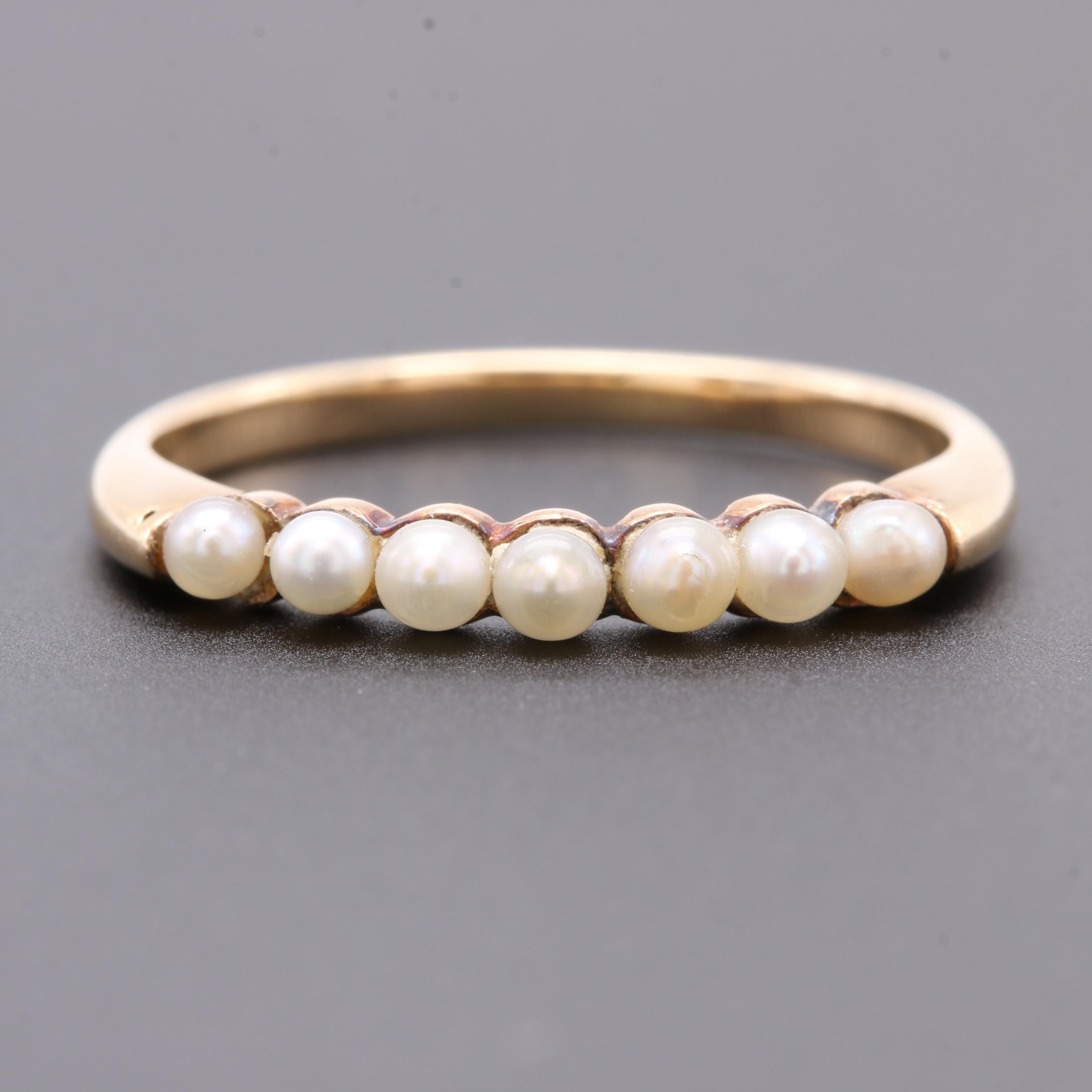14K Yellow Gold Seed Pearl Ring