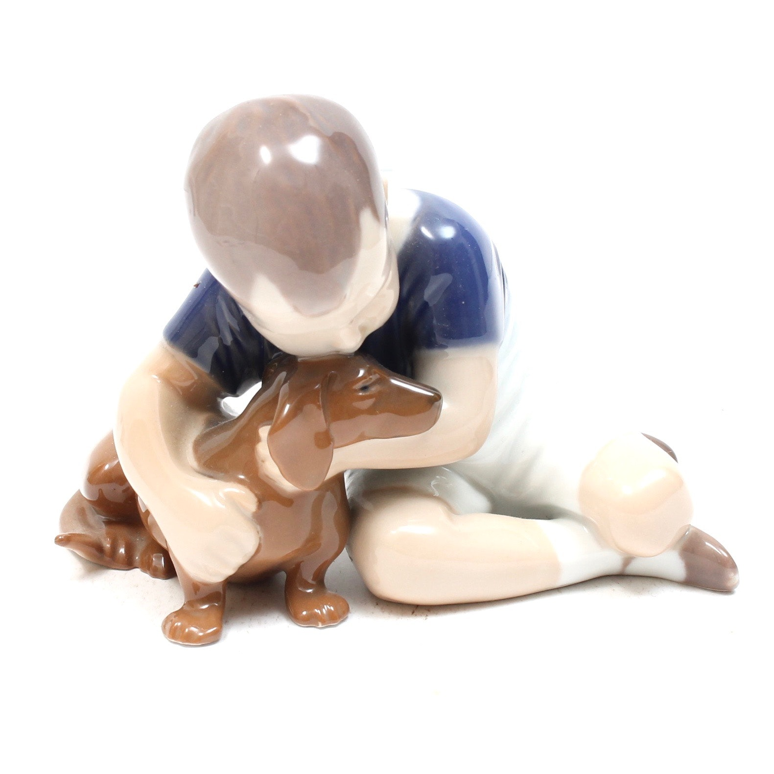 Bing & Grøndahl Boy with Dog Porcelain Figurine