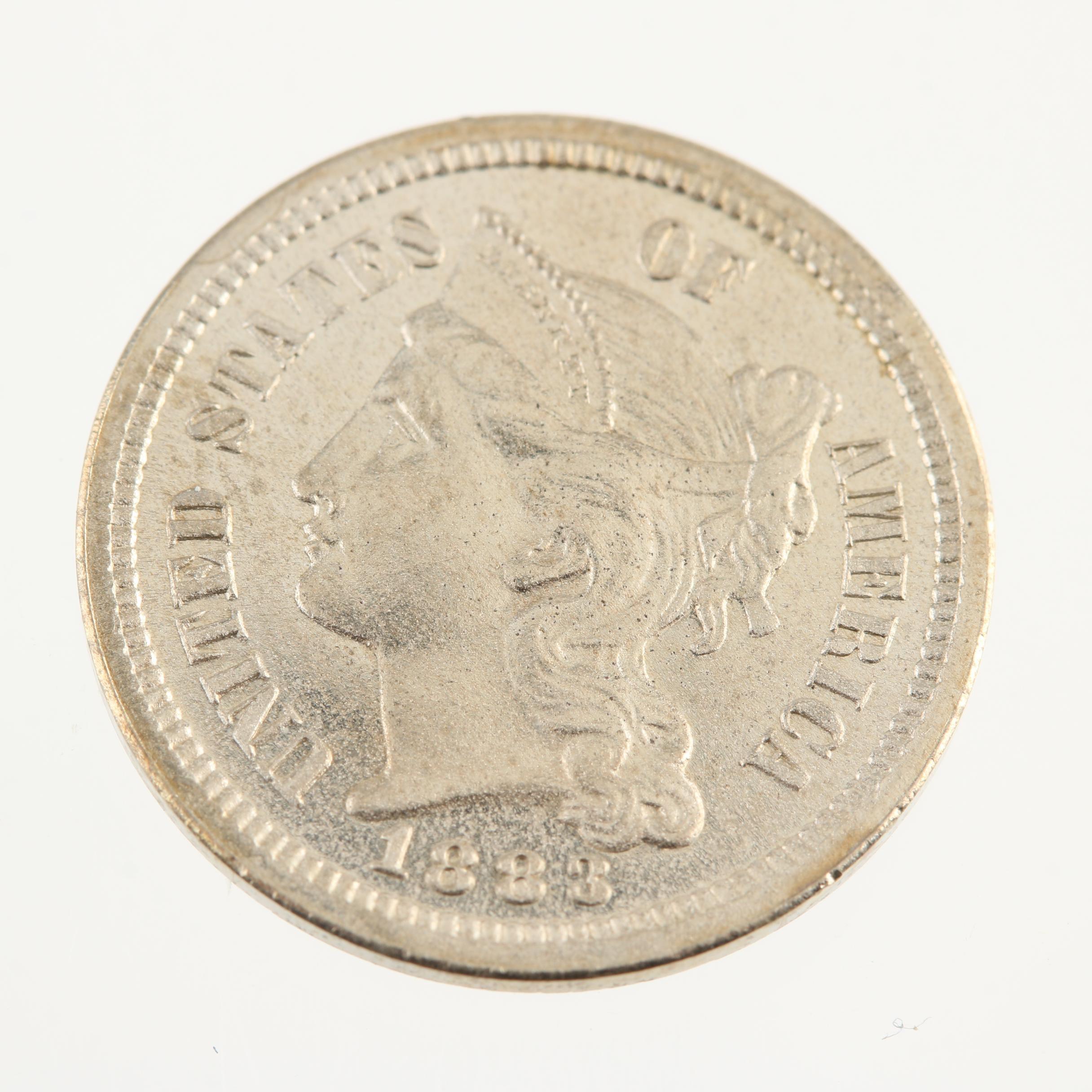 1883 Three Cent Liberty Head Proof Nickel Coin