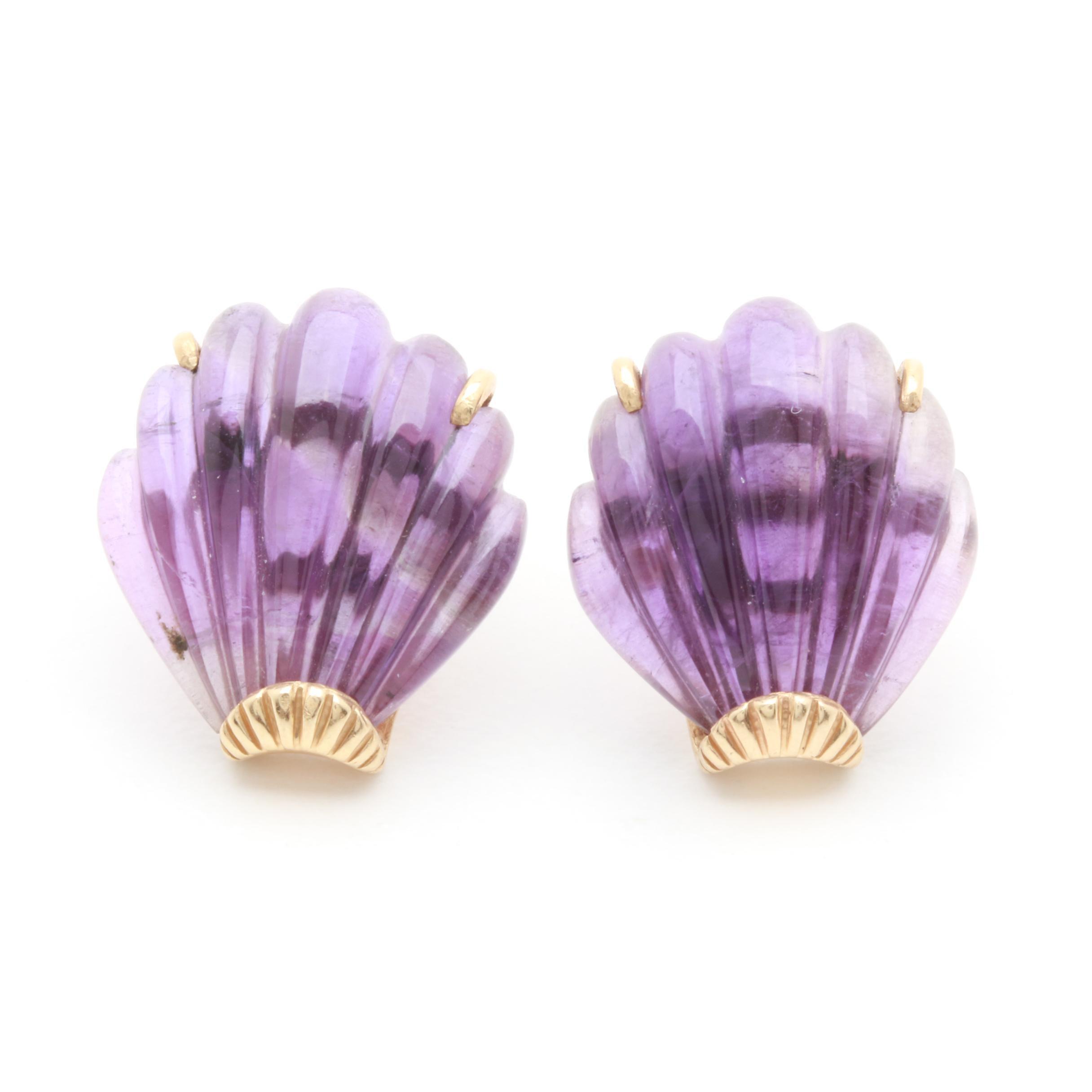 14K Yellow Gold Amethyst Shell Earrings