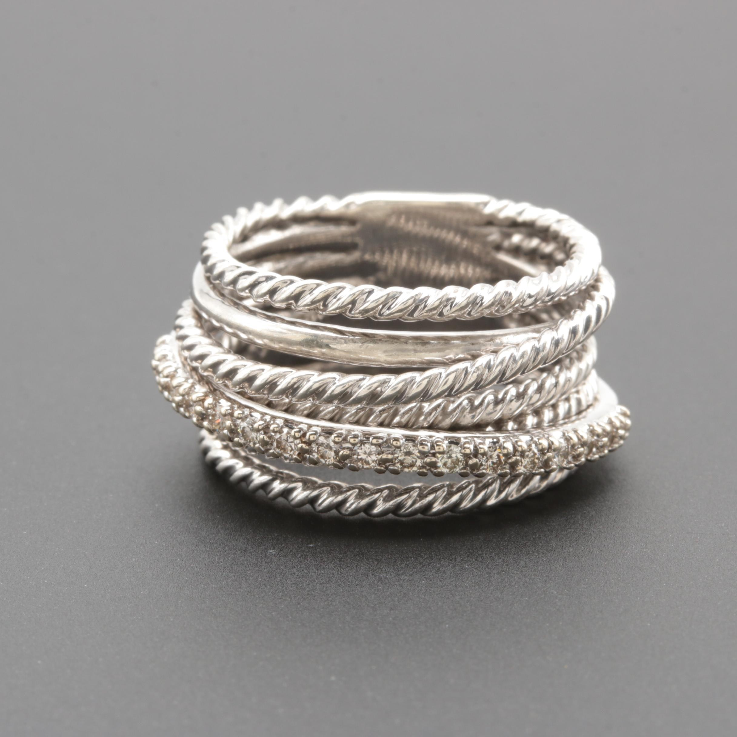 David Yurman Sterling Silver Crossover Collection Diamond Ring with 14K Accents