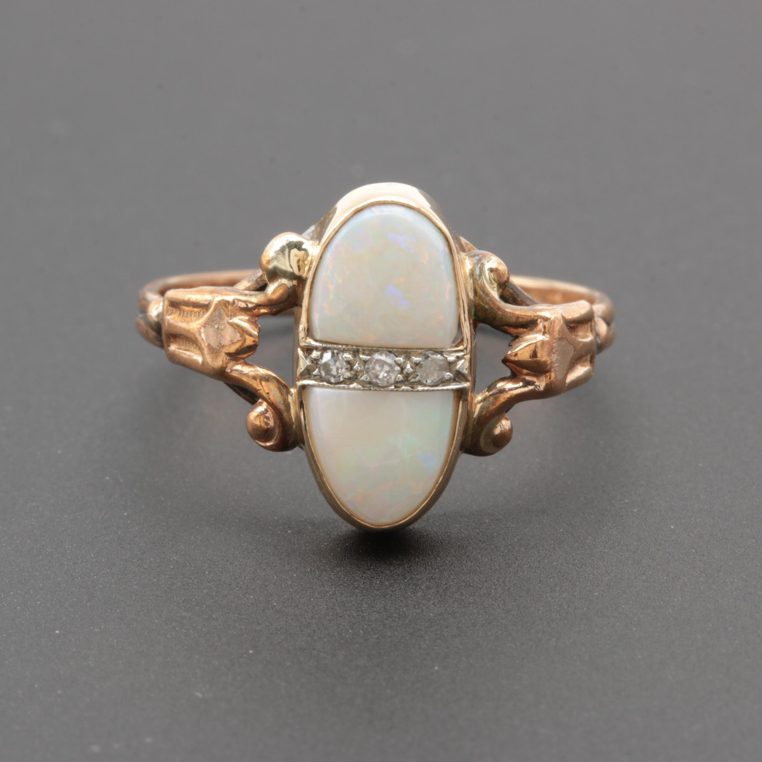 14K Yellow Gold and Gold Tone Opal and Diamond Ring